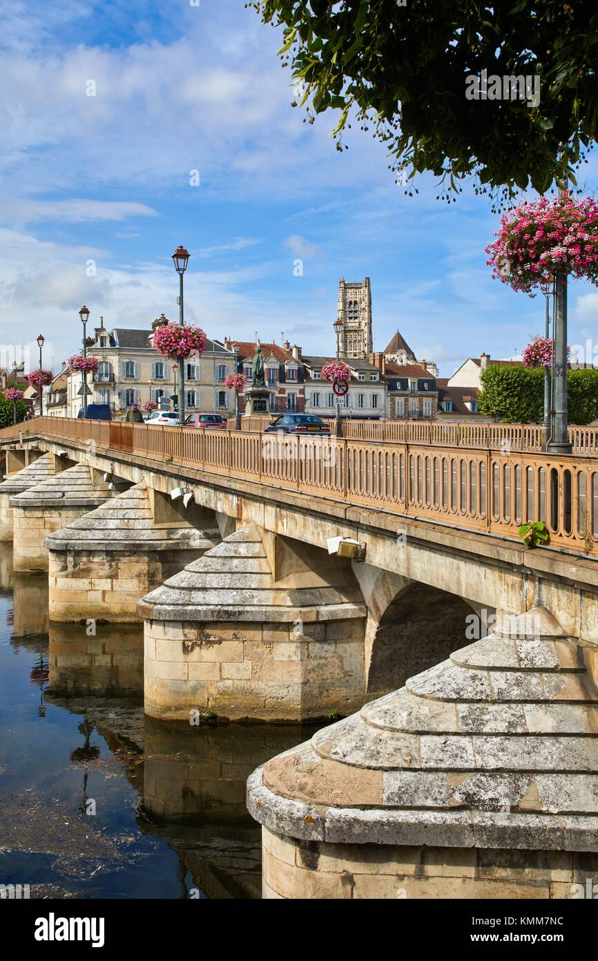 Pierre De L Yonne saint pierre church, paul bert bridge, yonne river, auxerre