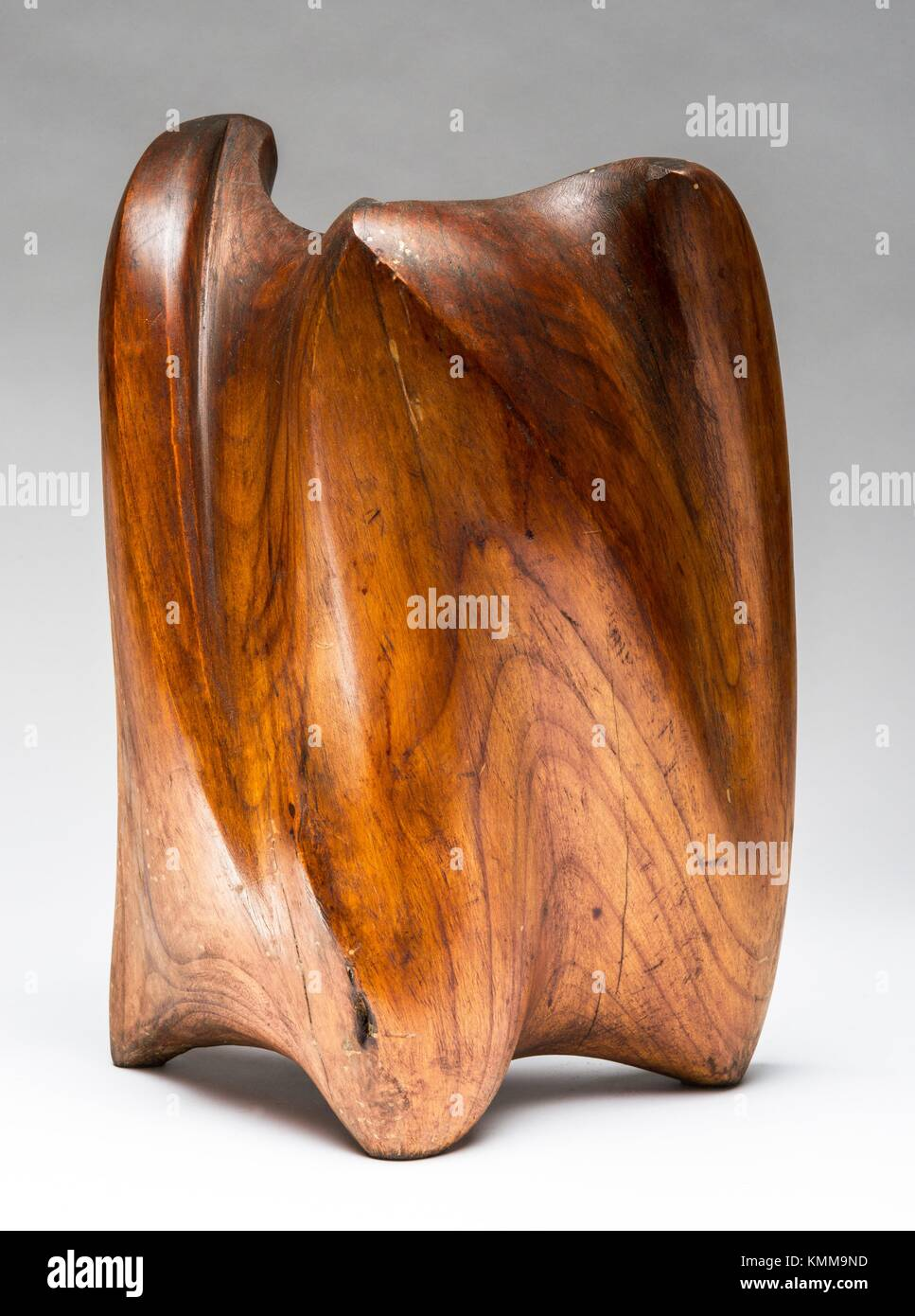 Draping, carved wood 1974 by French sculptor Jean Henninger. - Stock Image