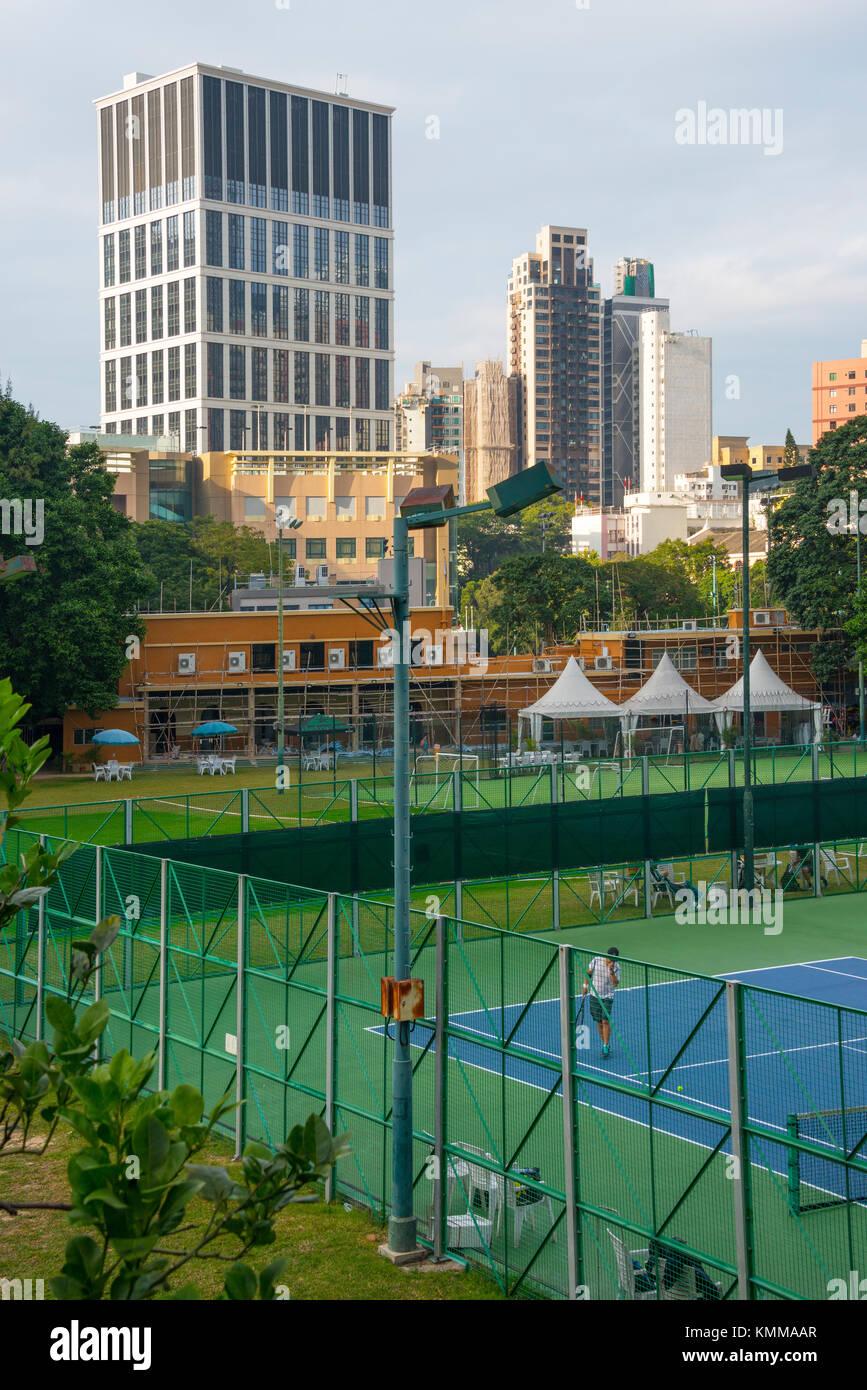 Sports Club, Hong Kong, with playing facilities - Stock Image