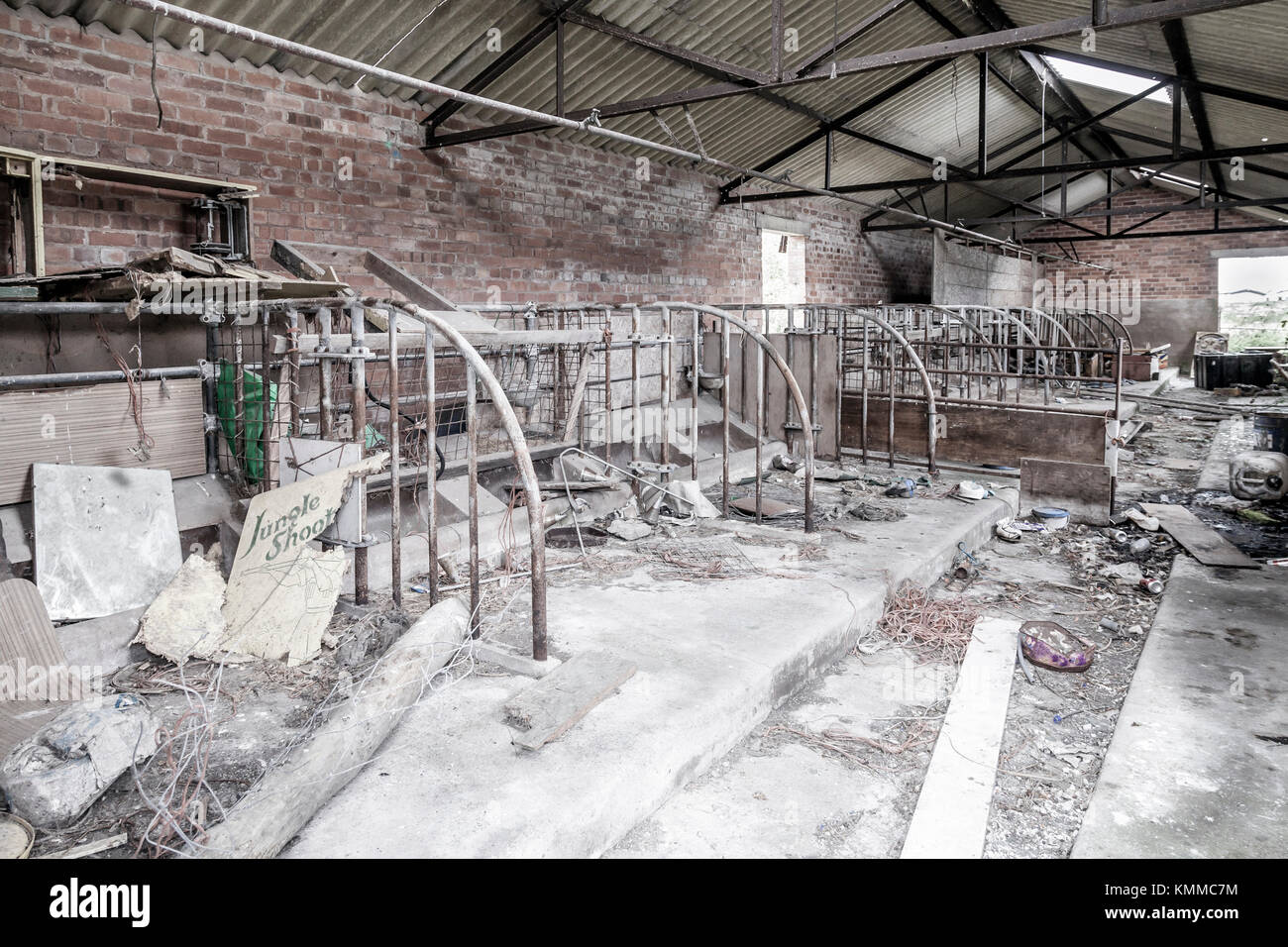 Interior Of Abandoned Farm Building Ruins Rural Outbuilding A Row Old