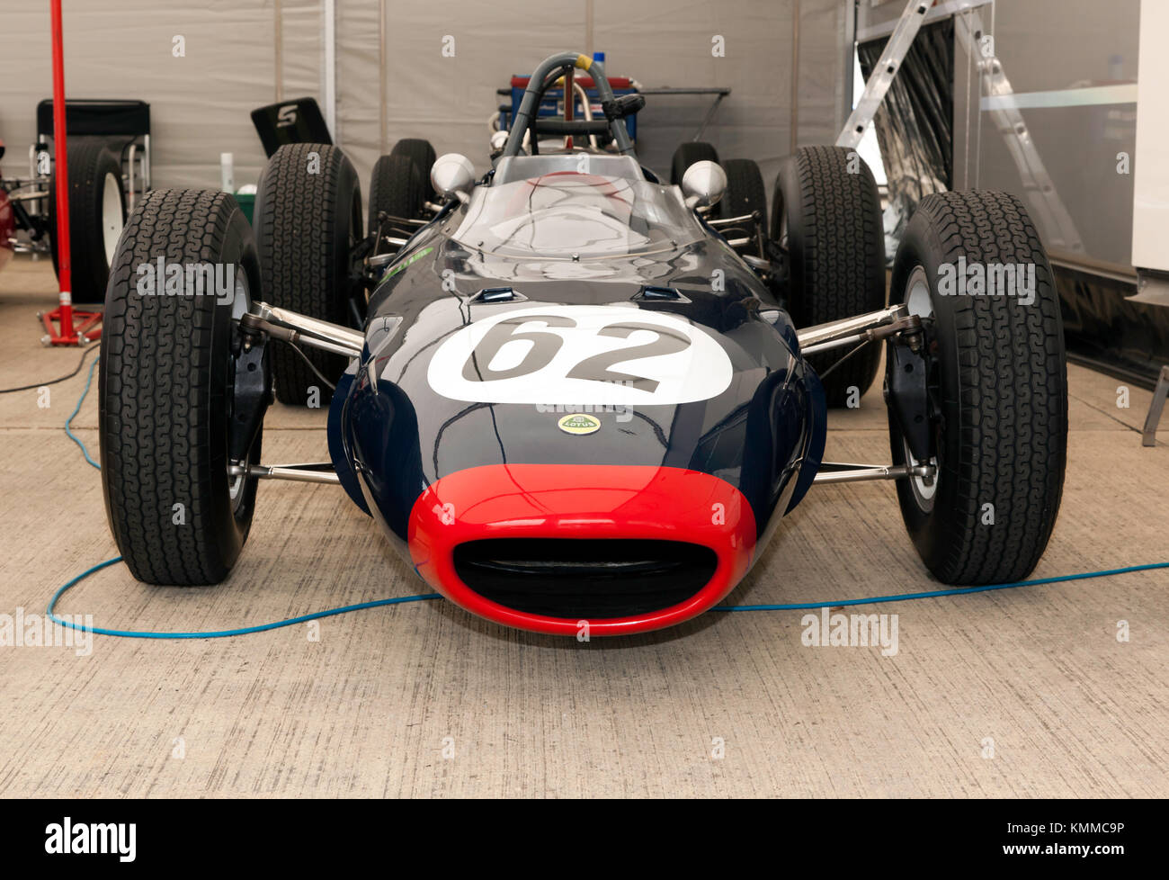Front view of a  1962  Lotus 24 P2,  on display in the International Paddock, during the 2017 Silverstone Classic - Stock Image