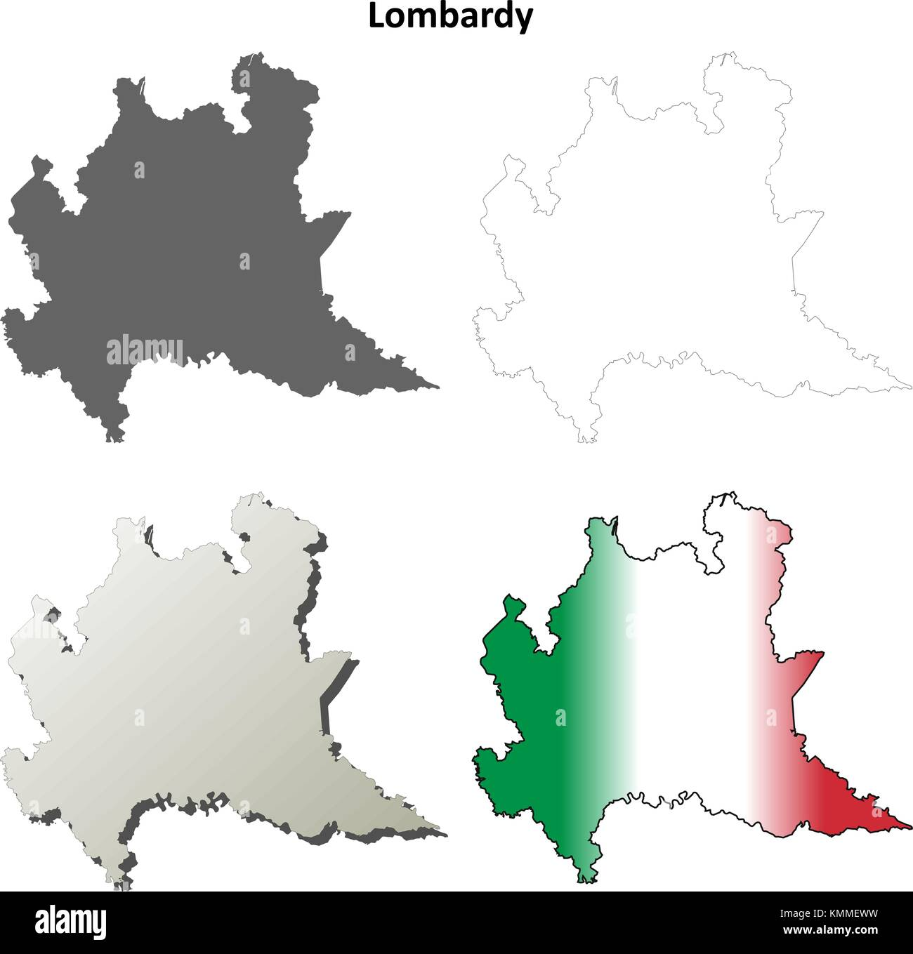 Lombardy blank detailed outline map set  - Stock Vector