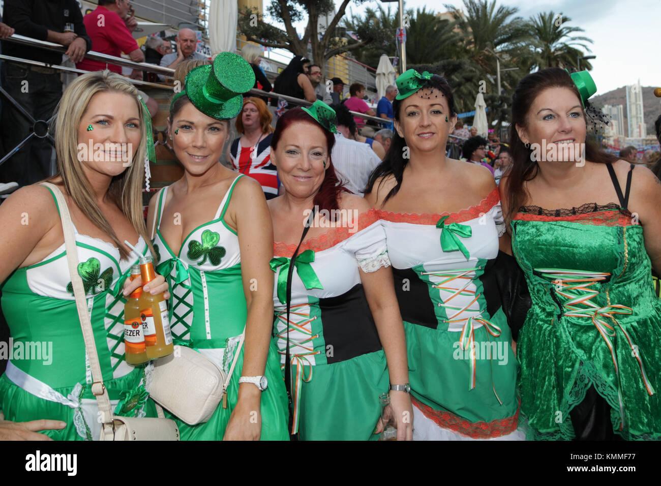 Benidorm new town British fancy dress day group of irish women dressed in shamrock costumes  sc 1 st  Alamy & Benidorm new town British fancy dress day group of irish women Stock ...