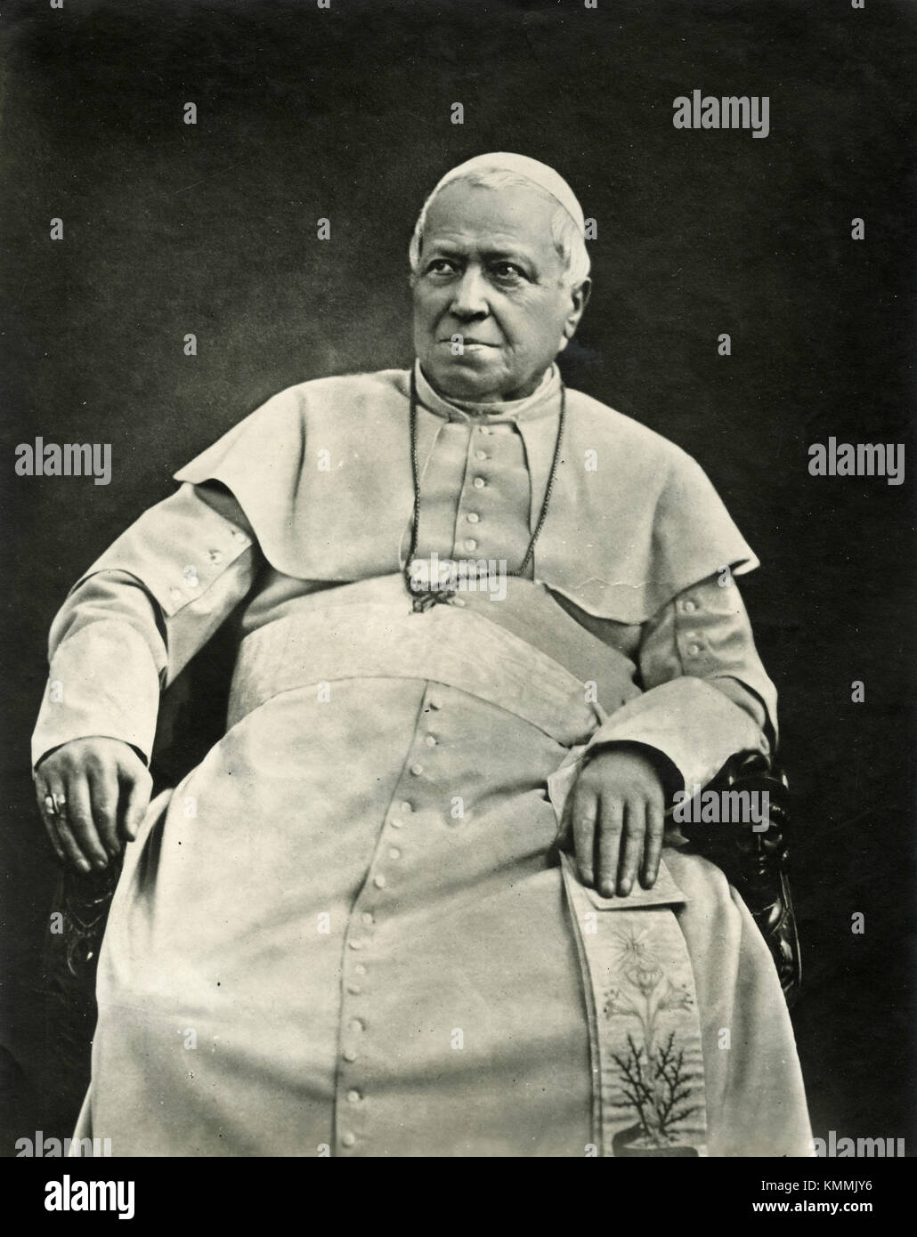 Portrait of Pope Pius IX by Braun, 1878 - Stock Image