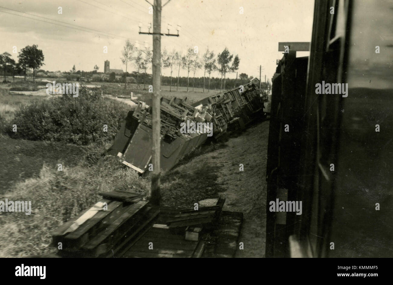 Derailed train, Holland 1930s - Stock Image