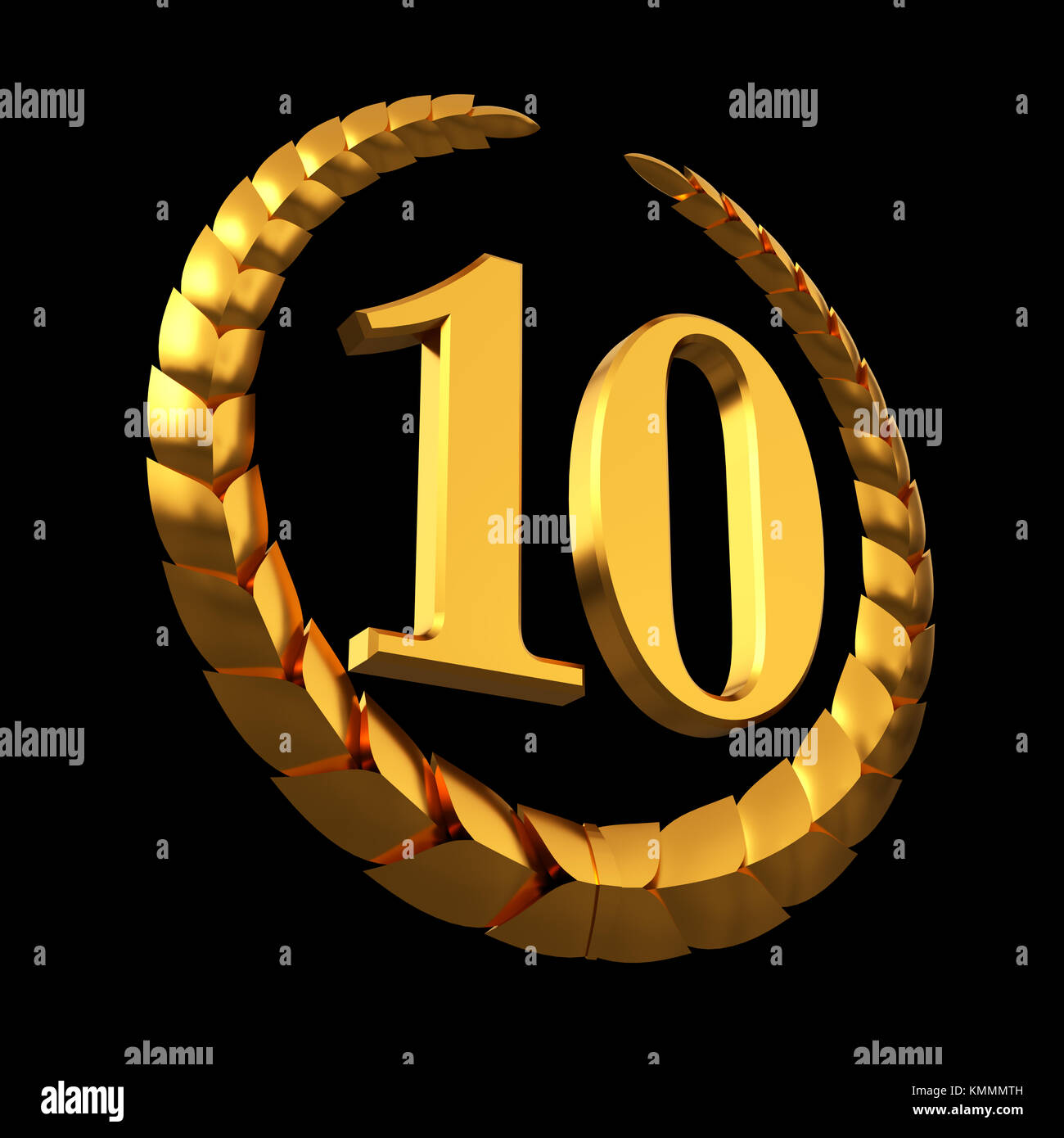 Anniversary Golden Laurel Wreath And Numeral 10 On Black Background Stock Photo