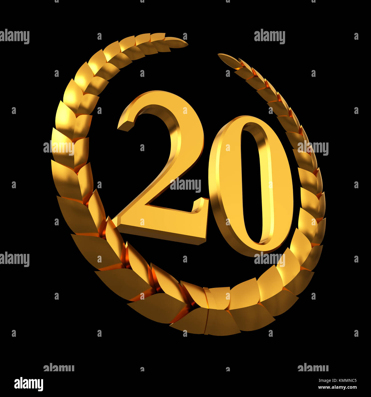 Anniversary Golden Laurel Wreath And Numeral 20 On Black Background - Stock Image