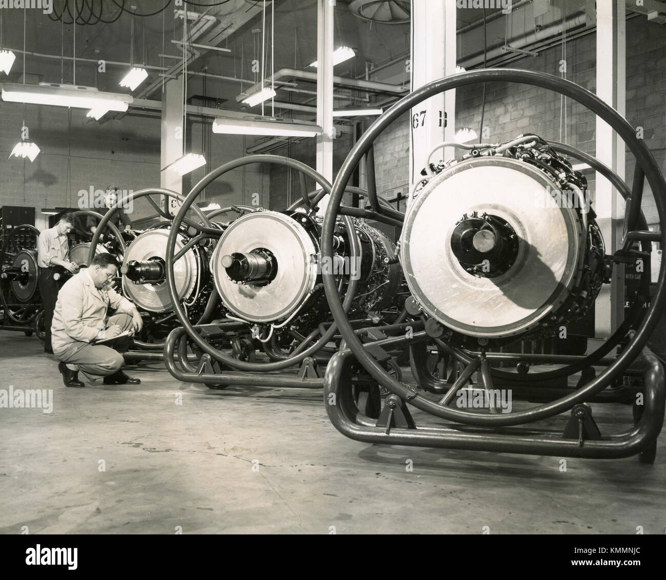 Production of Wright J65 axial-flow turbojet engines Curtiss-Wright, USA 1952 - Stock Image