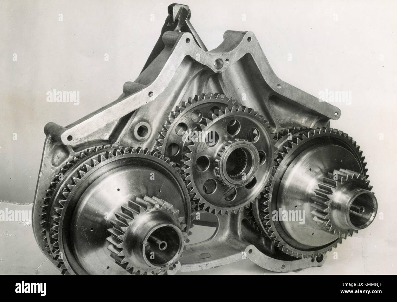 The two layshaft, double clutch, supercharger drive of Rolls-Royce Eagle engine, UK 1947 - Stock Image