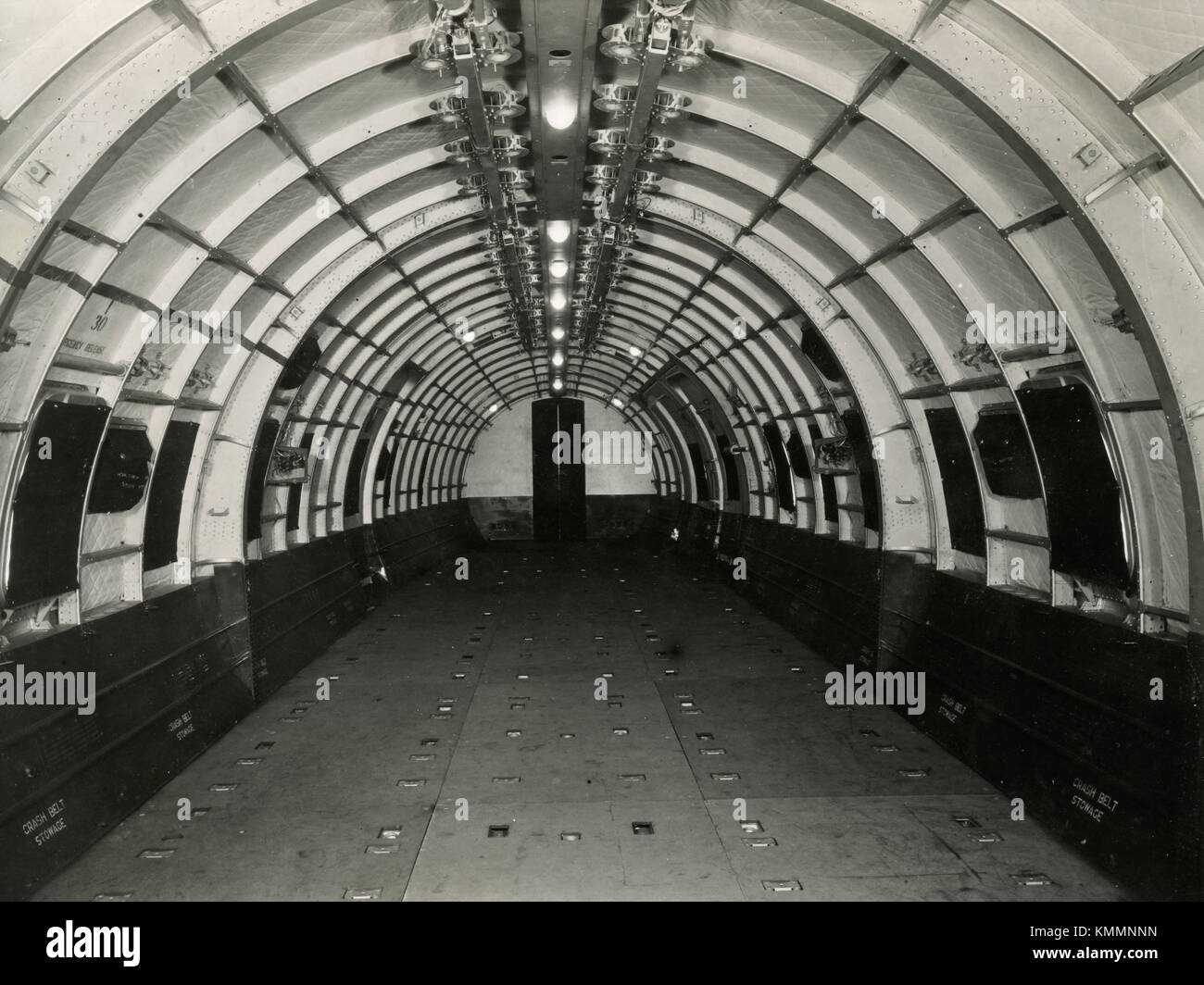 Inside the military transport aircraft Hastings, UK 1940s - Stock Image