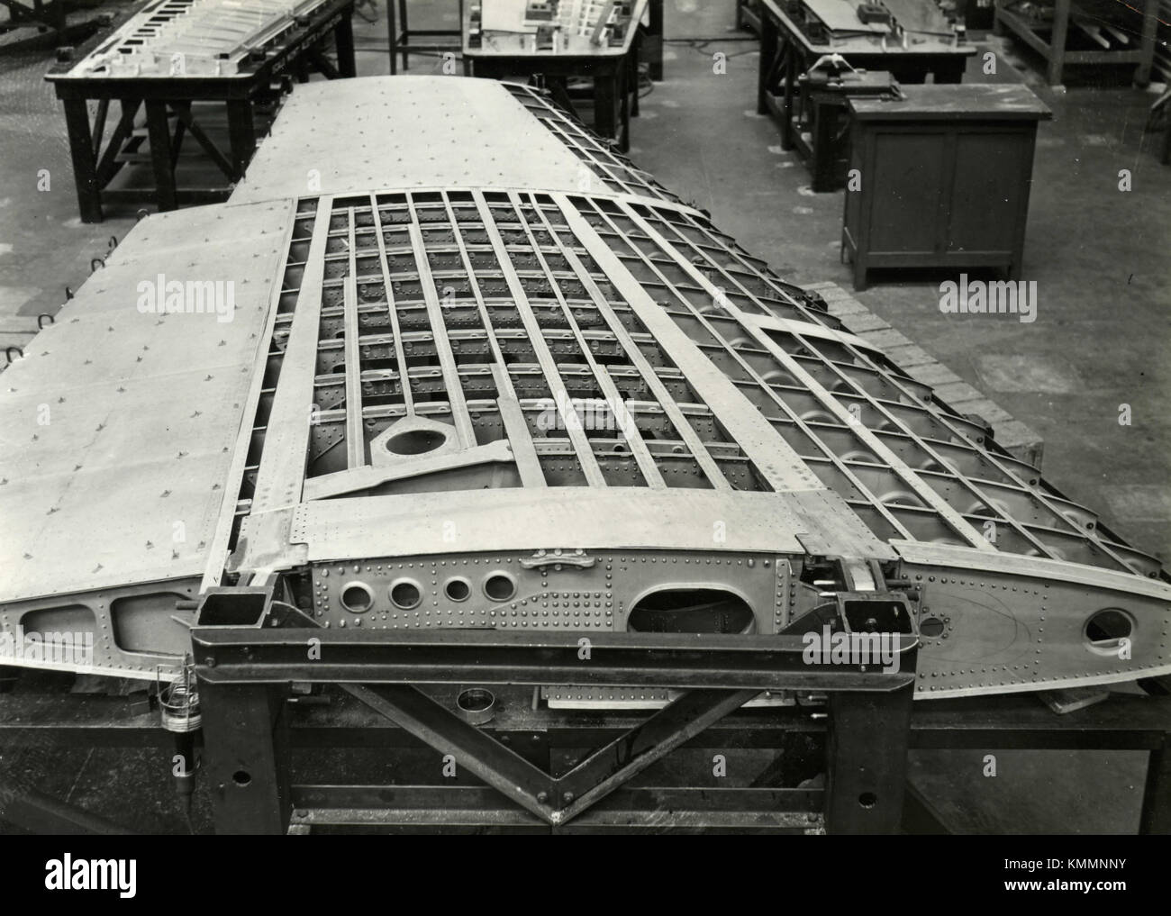 Assembling the wing of FIAT G.80 airplane, Italy 1950s - Stock Image