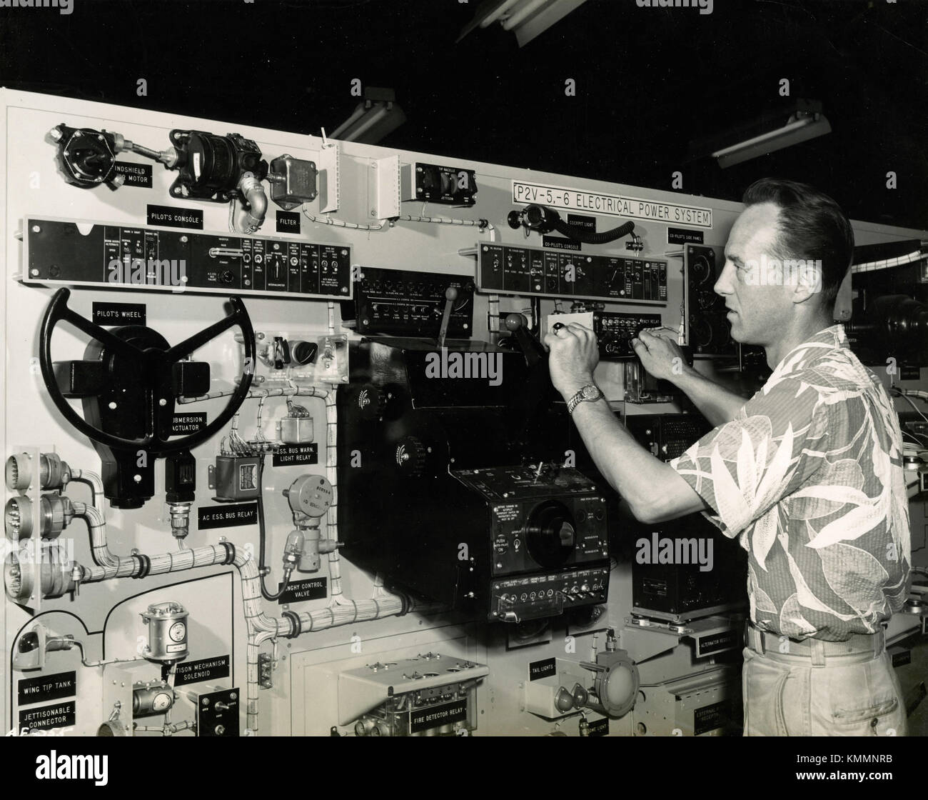 Electrical system of a P2V Neptune patrol bomber Lockheed, USA 1947 - Stock Image