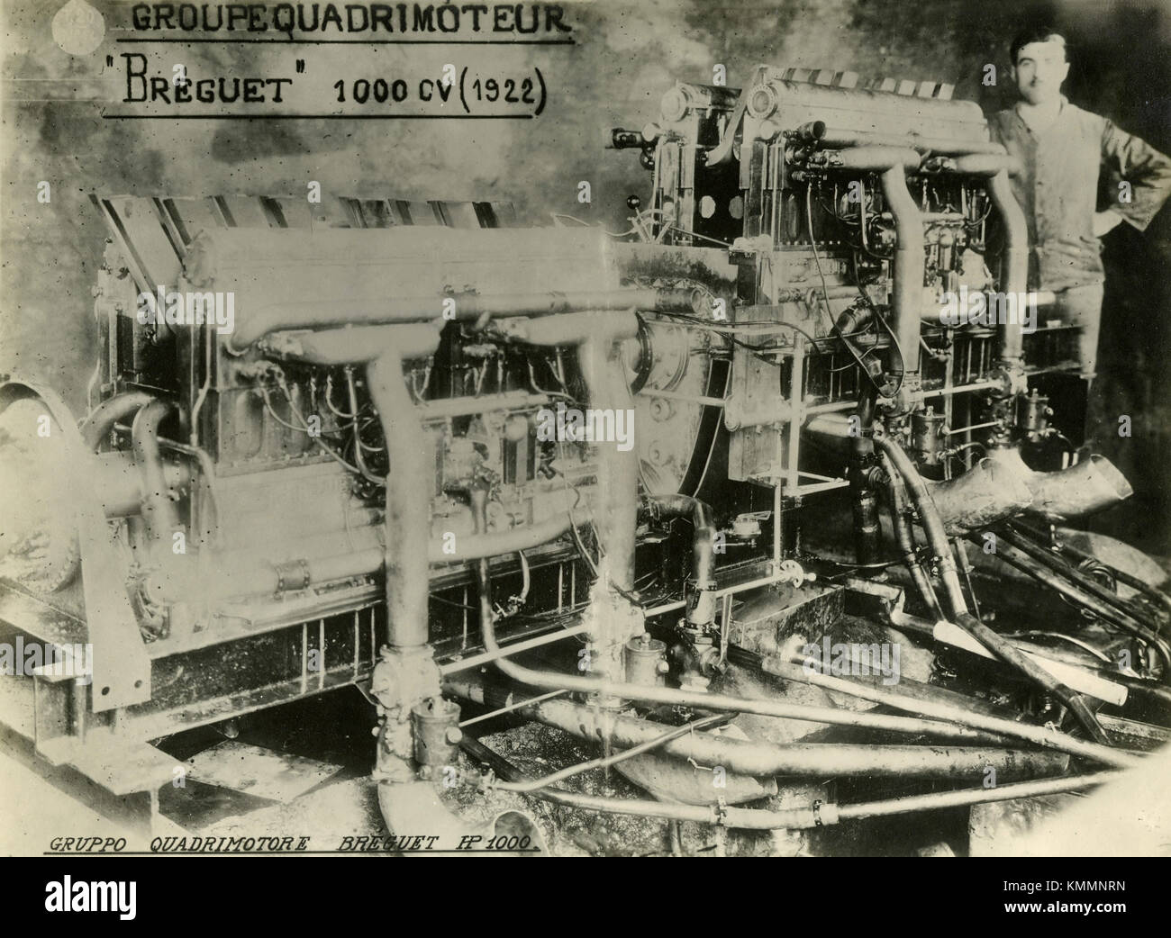 Breguet Bugatti 16-cylinder quadimoteur 32A aircraft engine, France 1920s - Stock Image