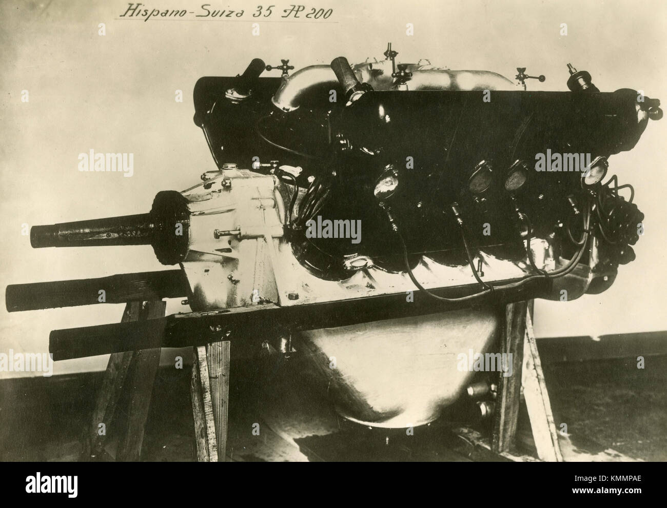 Hispano Suiza 35 aircraft engine HP 200, back view, France 1920s - Stock Image