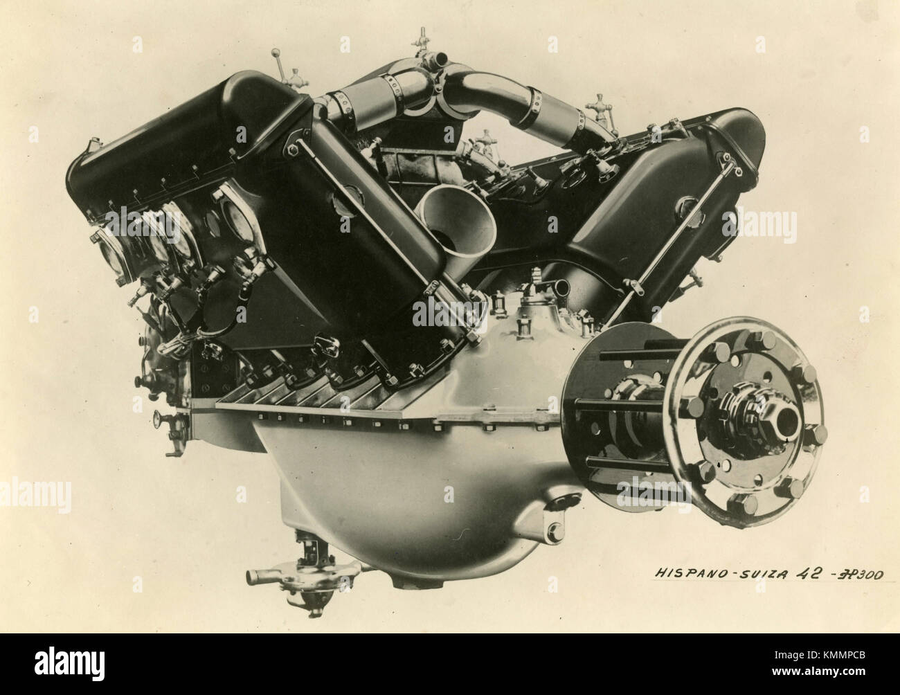 Hispano Suiza aircraft engine 42 HP 300, back view, France 1920s - Stock Image