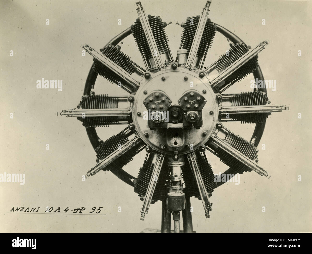 Anzani 10A 4 HP 35 aircraft radial engine 10 cylinders, Italy 1910s - Stock Image