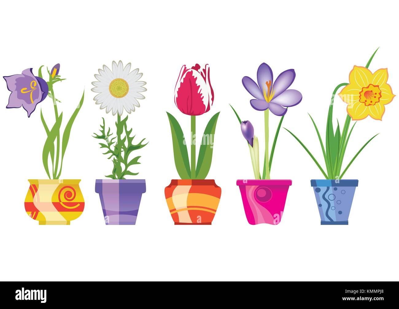 Spring Flowers In Pots Isolated On White Background Vector Stock Vector Image Art Alamy