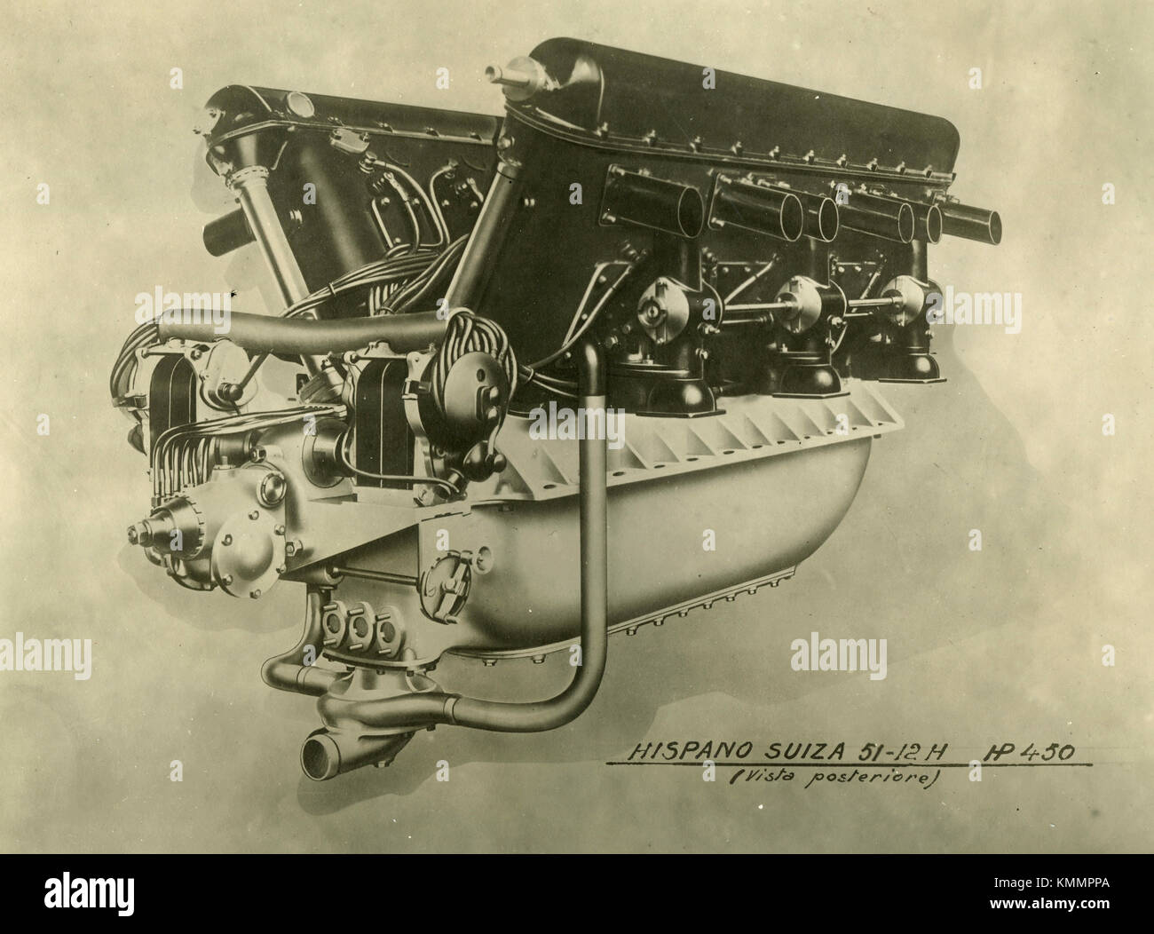 Hispano Suiza aircraft engine 51 12H HP 450, side view, France 1920s - Stock Image