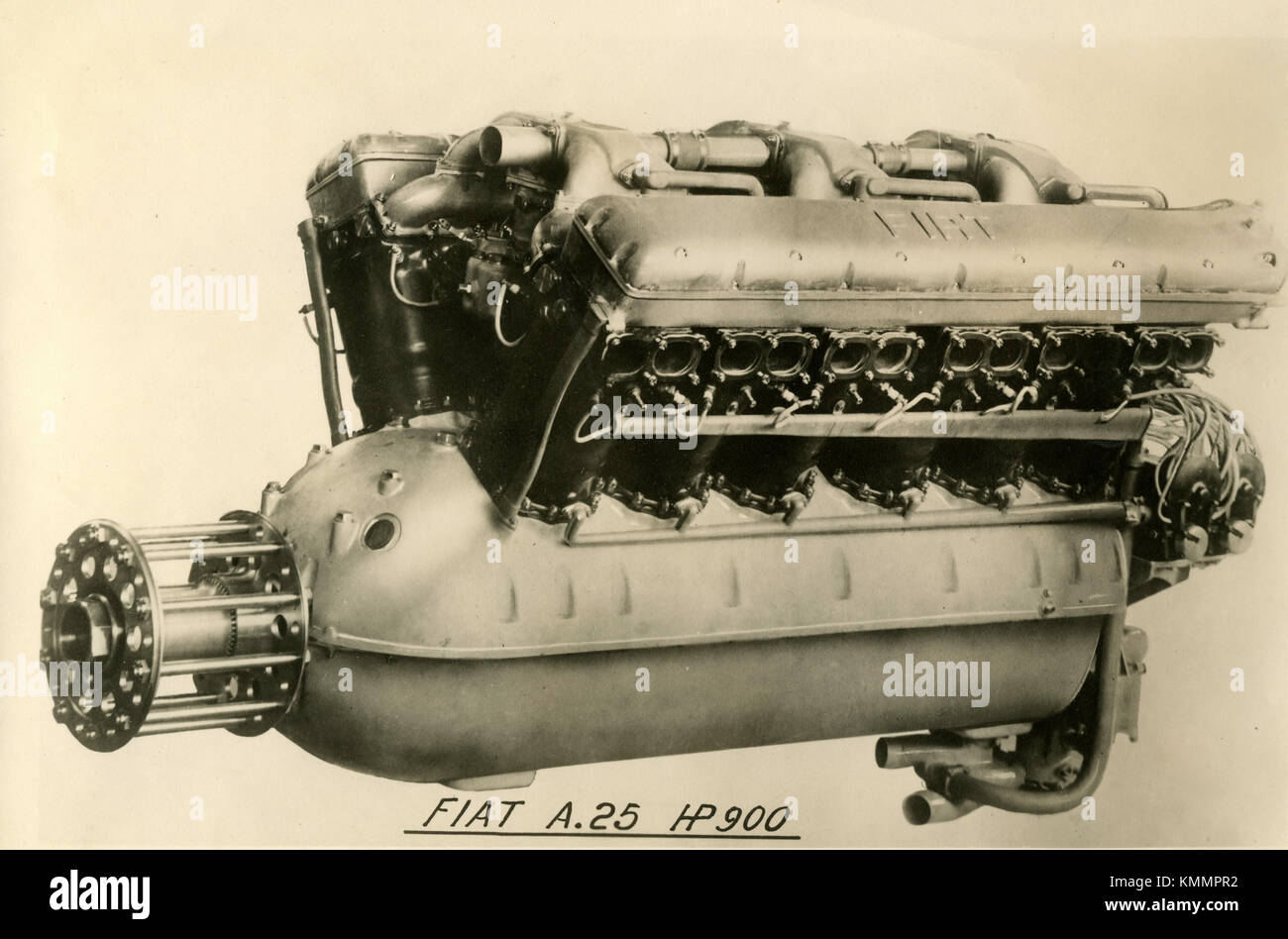 FIAT aviation engine A.25 HP 900, Italy 1920s - Stock Image