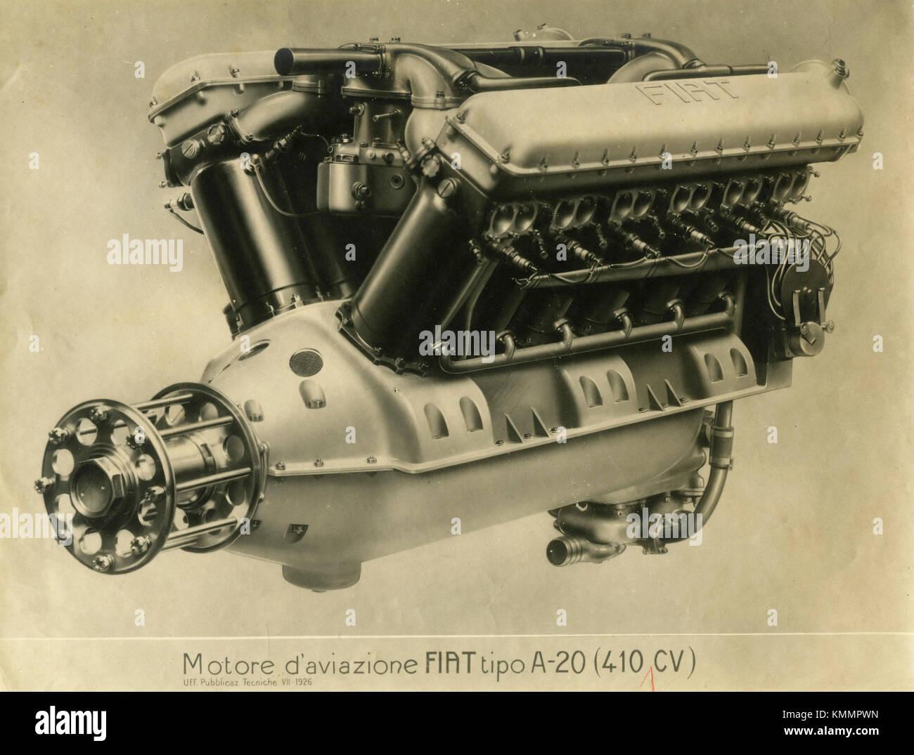 FIAT aviation engine A.20 HP 410, Italy 1920s - Stock Image
