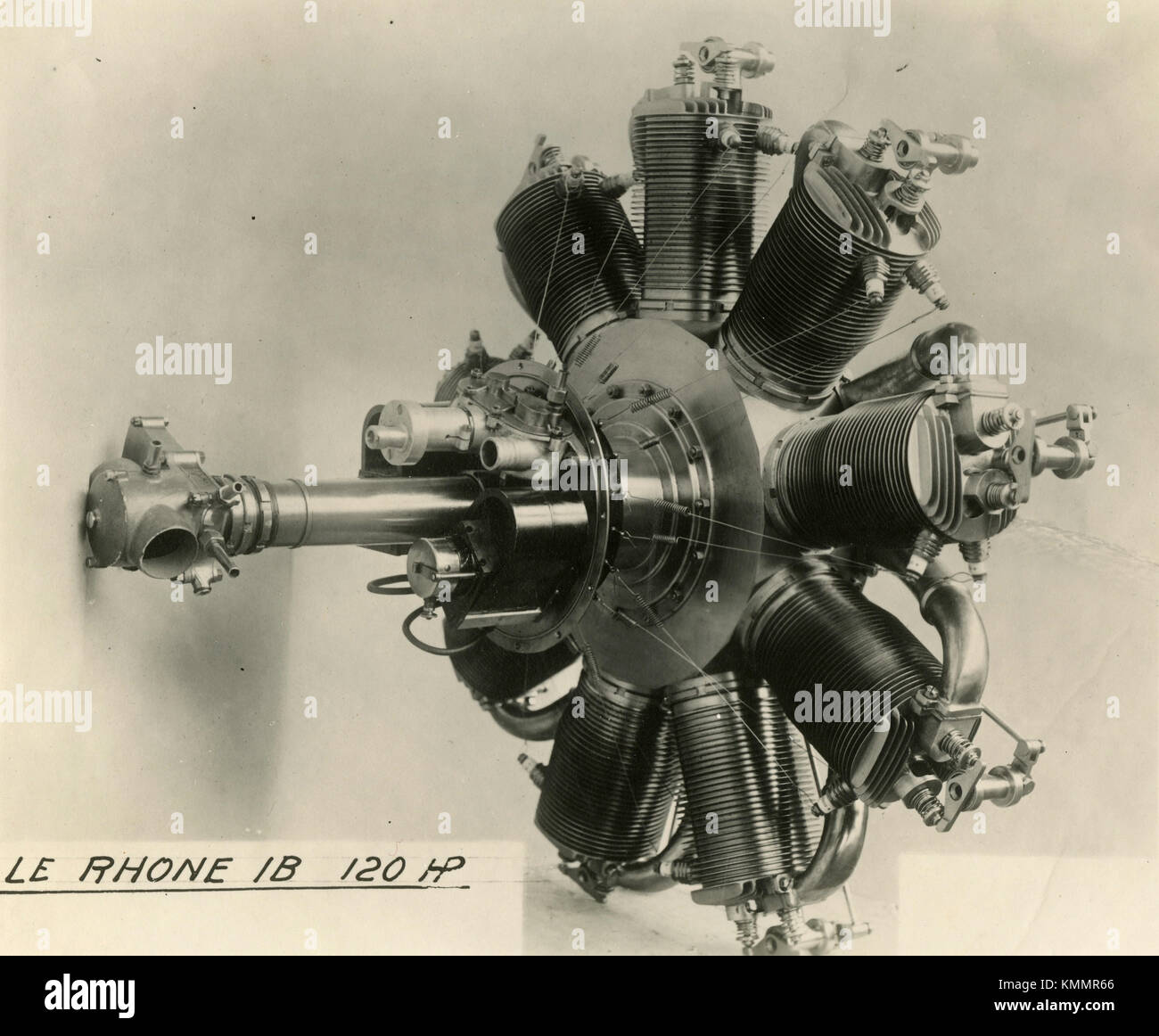Radiant aircraft engine Le Rhone IB HP 120, France 1920s - Stock Image