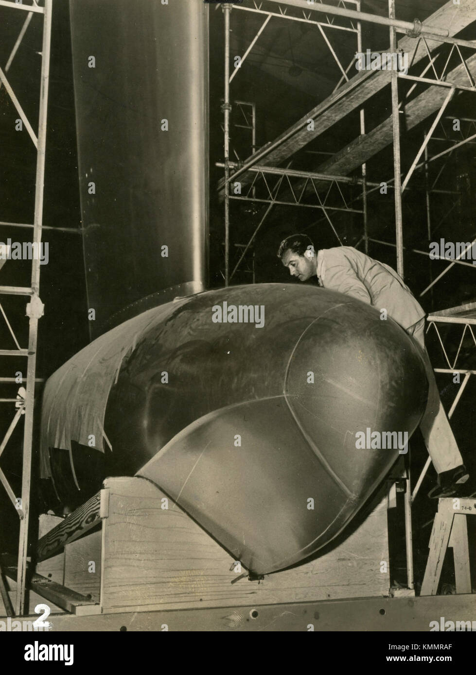 Mounting the wing of the airplane, 1946 - Stock Image