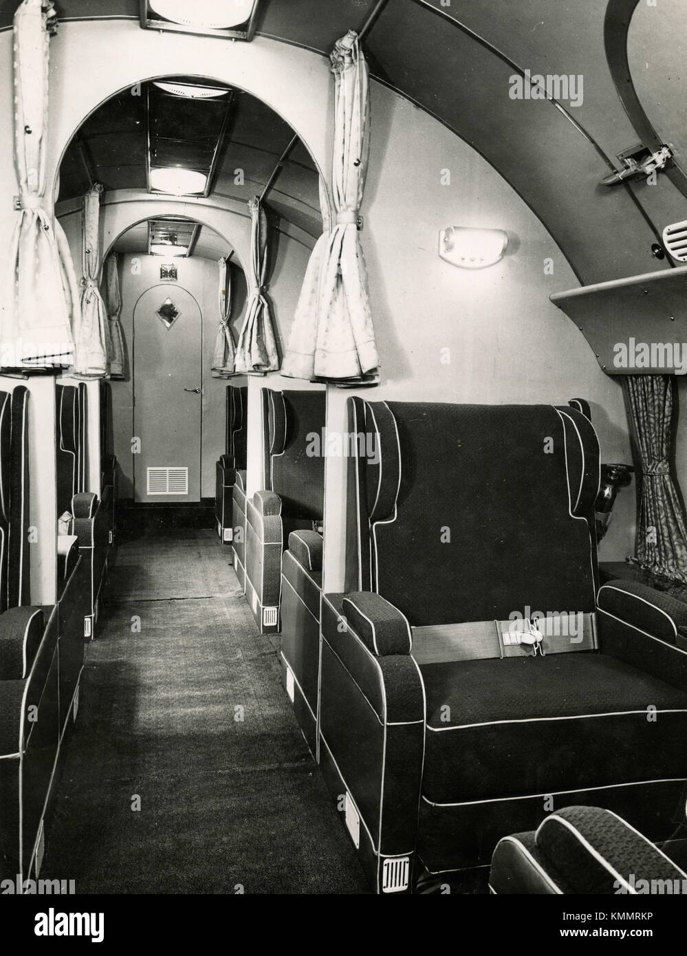 Inside view of the passengers seats of the Avro XX Tudor I aircraft, UK 1950s - Stock Image