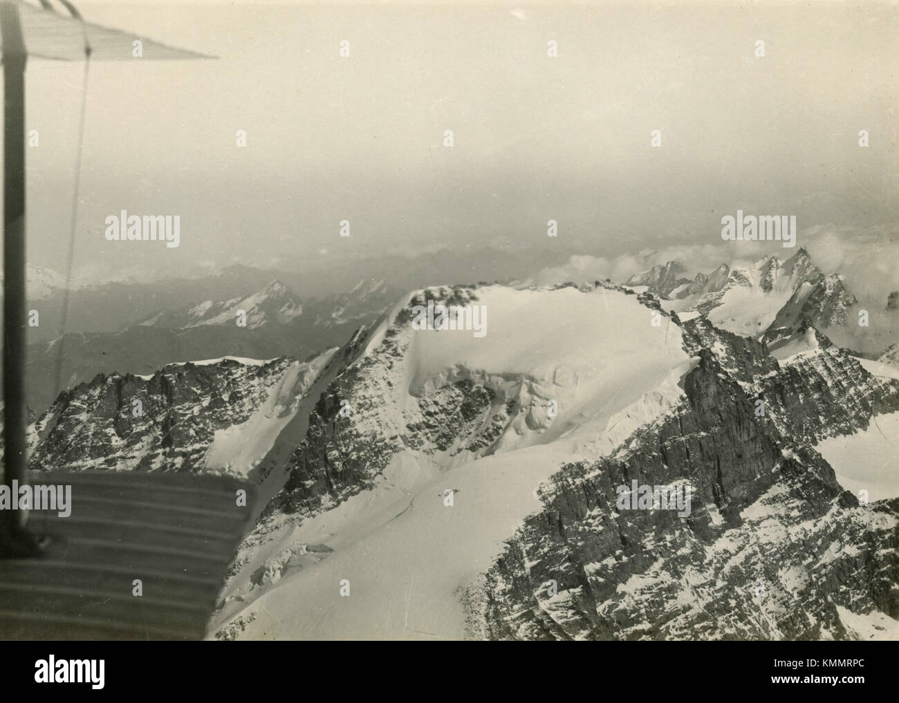 Aerial view of the glacier mountains, Alps 1930s - Stock Image