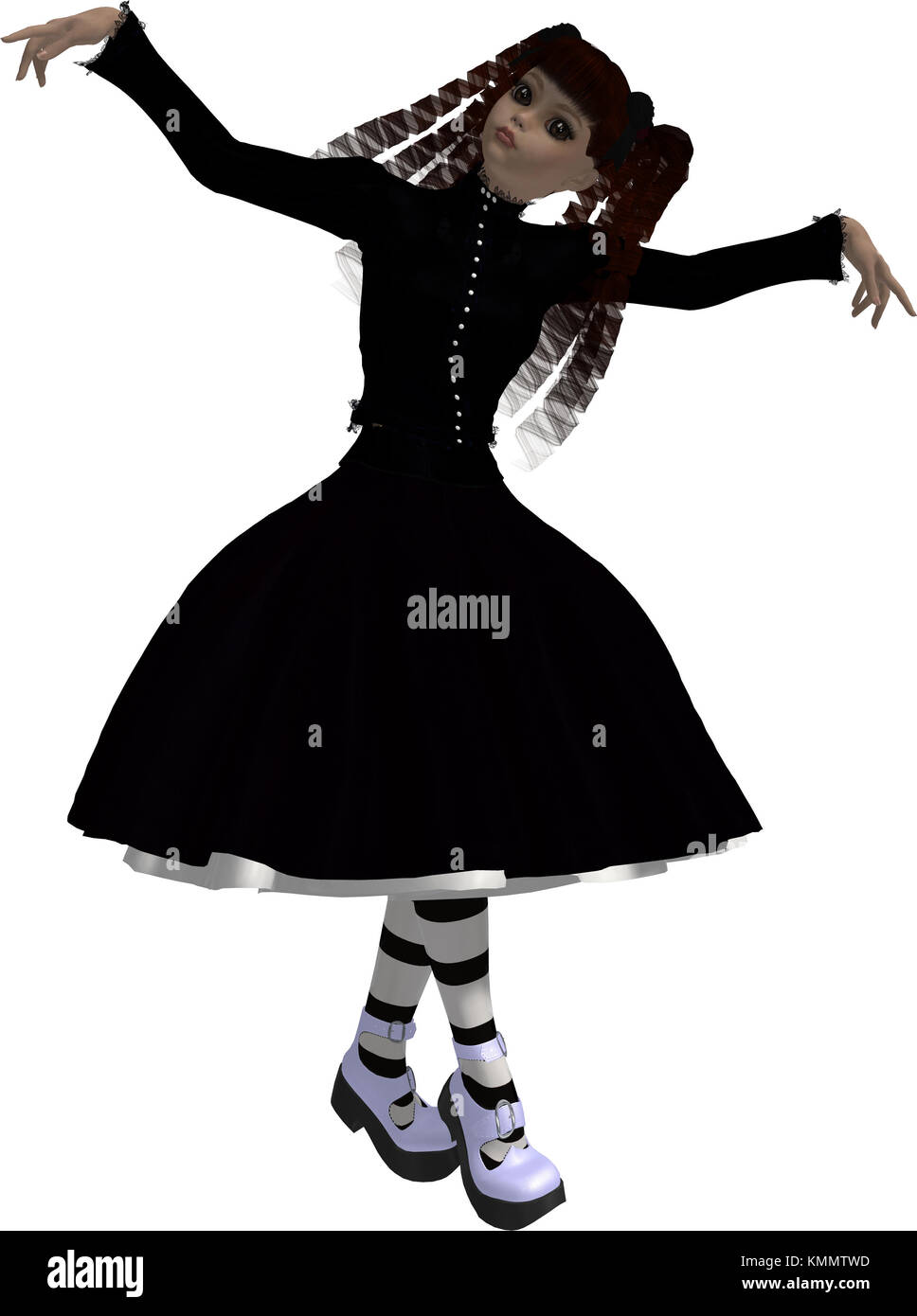 Goth girl in black dress with arms spread Stock Photo