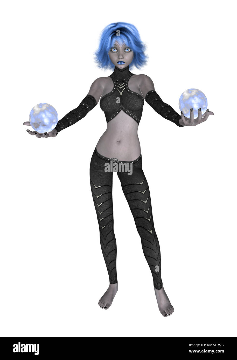 Blue goth girl dressed in black holding two crystall balls - Stock Image