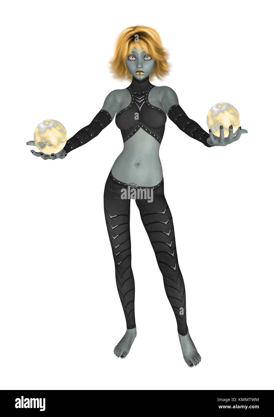 Gold goth girl dressed in black holding two crystall balls - Stock Image
