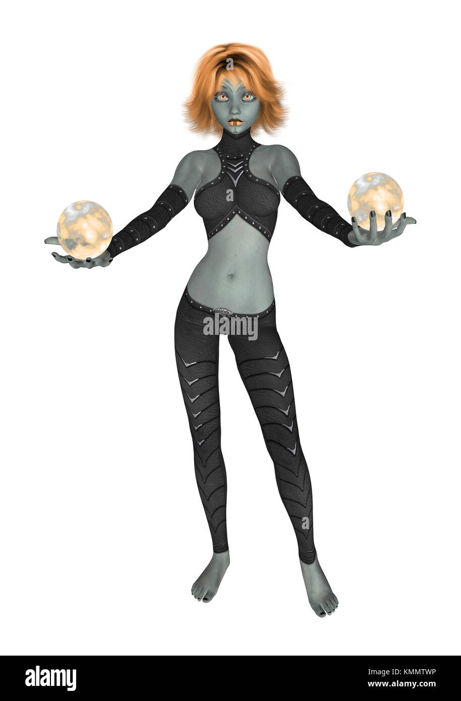 Orange goth girl dressed in black holding two crystall balls - Stock Image