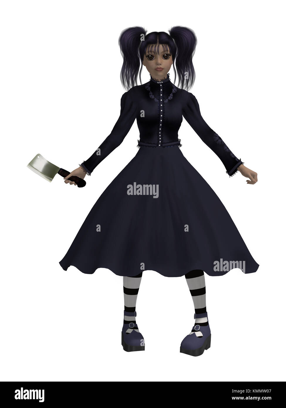 Goth girl with an axe wearing a black dress - Stock Image