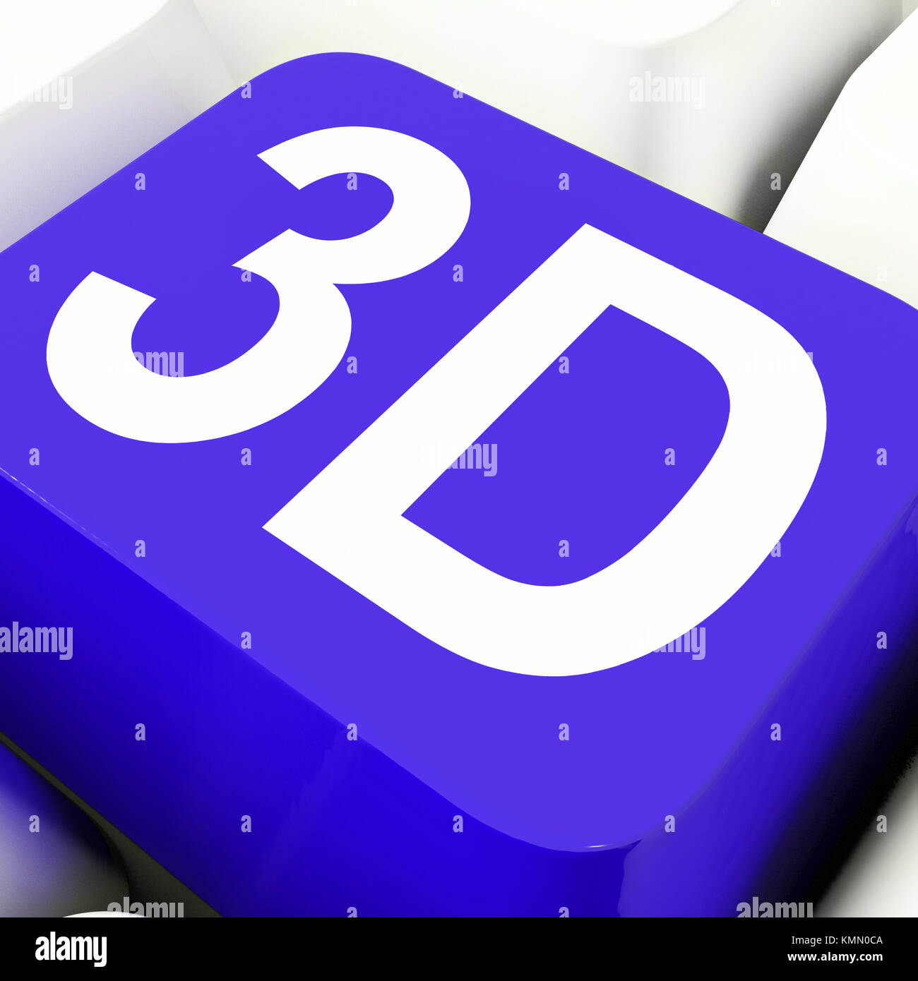 3d Key Showing Three Dimensional Or Dimensions - Stock Image