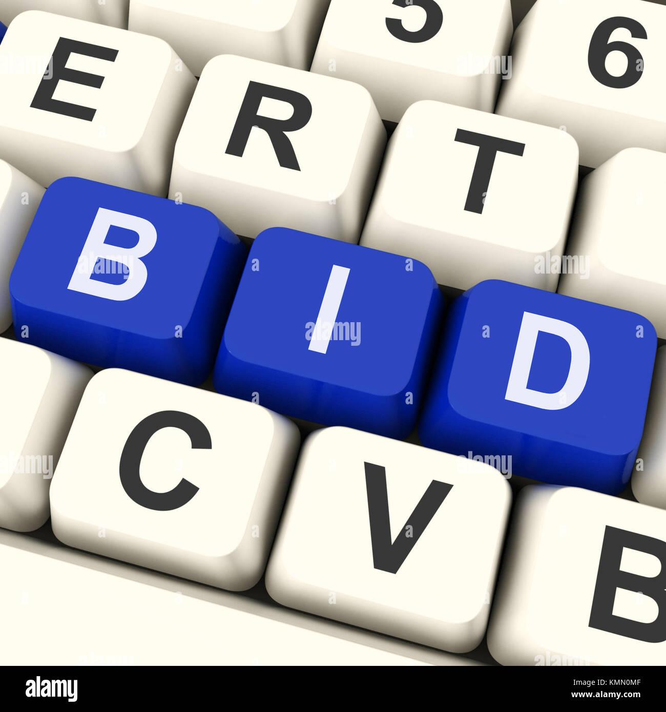 Bid Keys Showing Online Bidding Or Auction - Stock Image