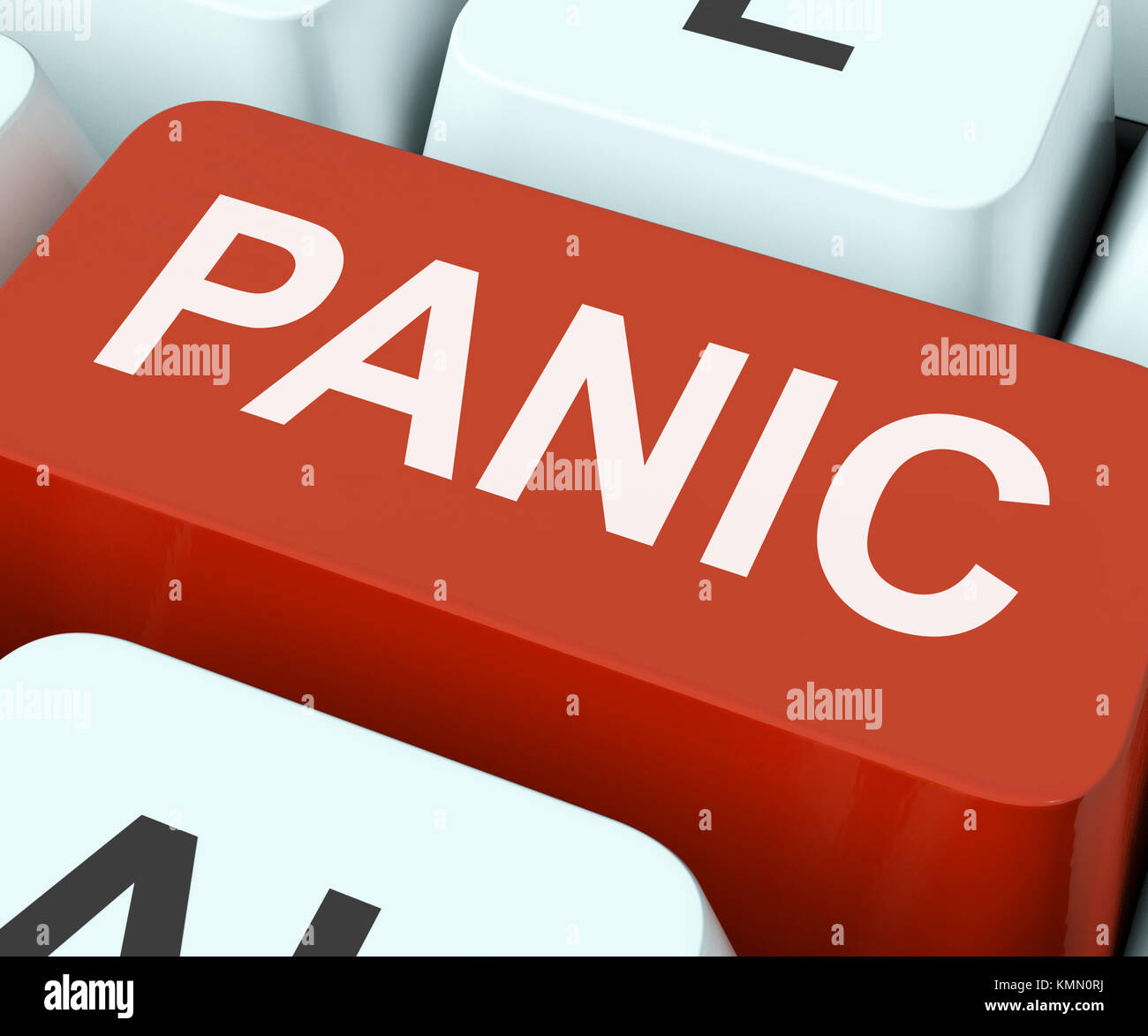 Panic Key Showing Panicky Terror Or Distress Stock Photo