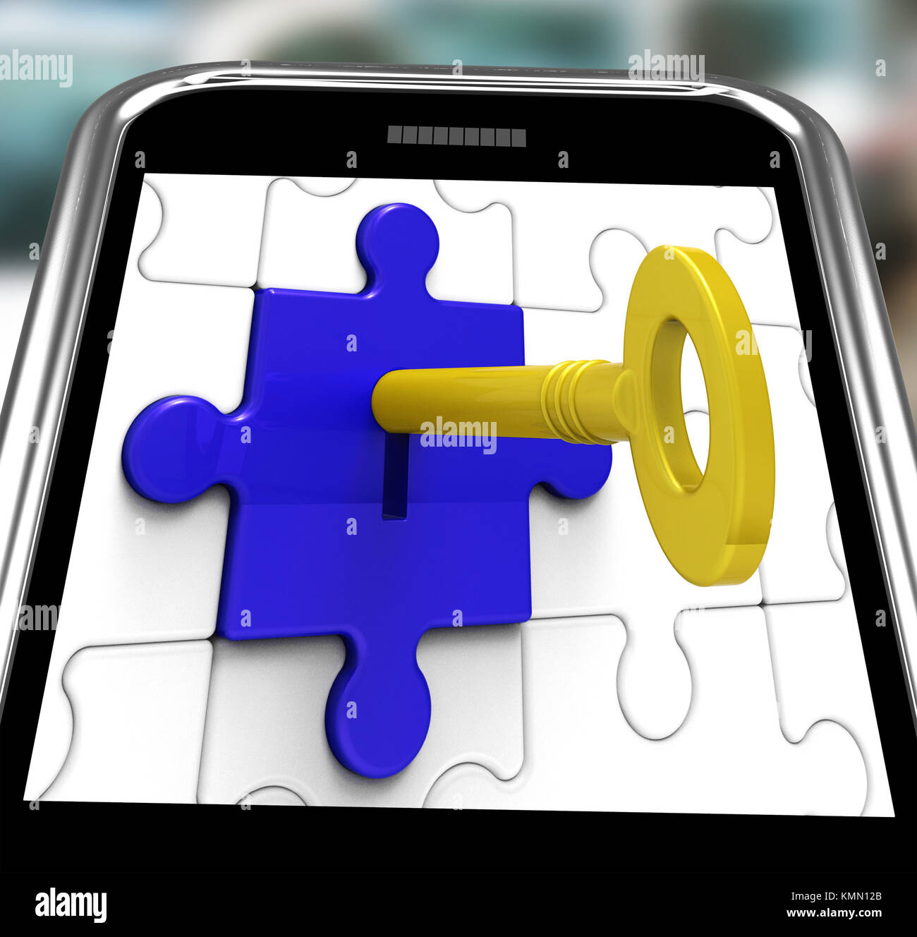 Key In Lock On Smartphone Showing Hidden Secrets And Privacy - Stock Image