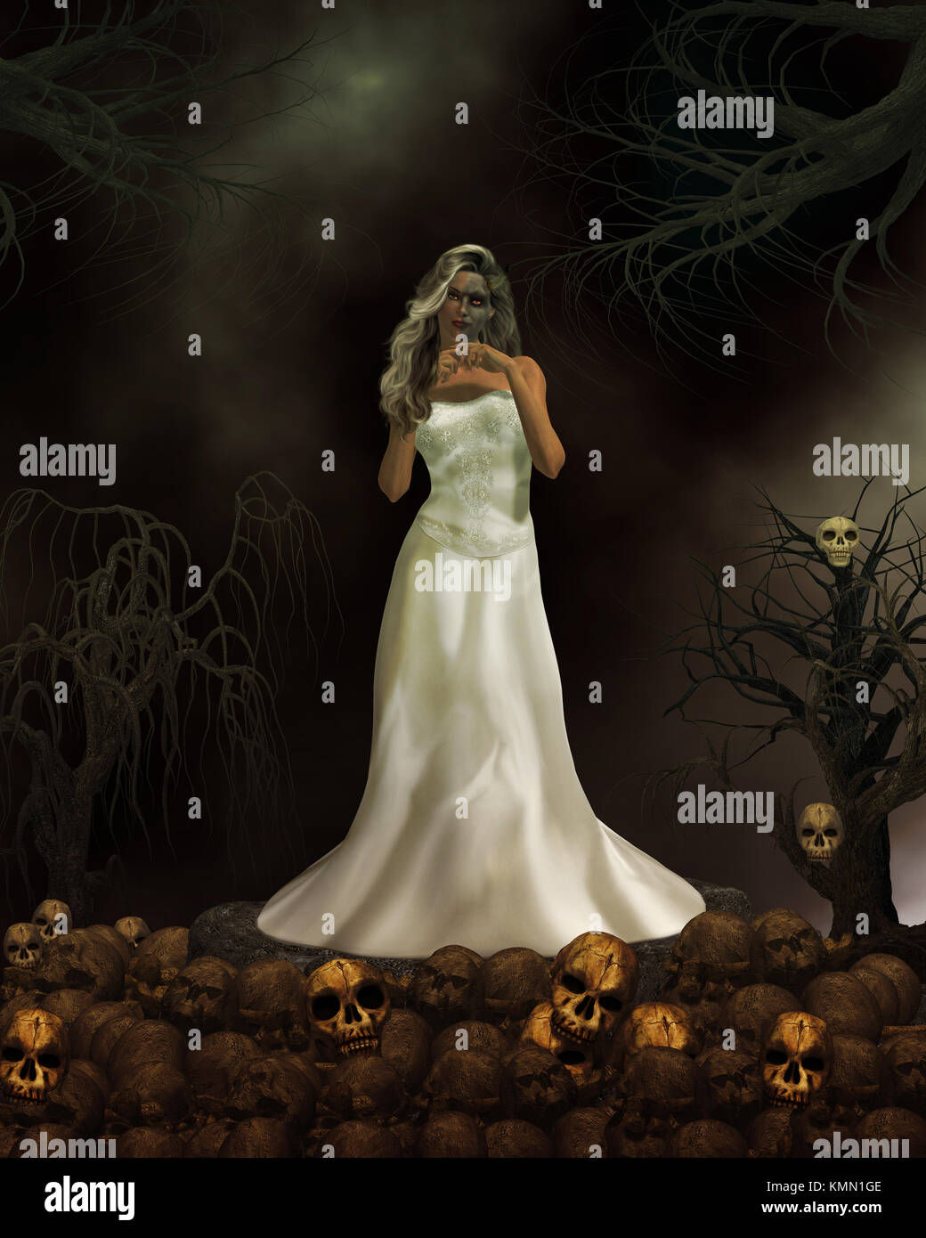 Female demon in wedding dress ready to get married again Stock Photo