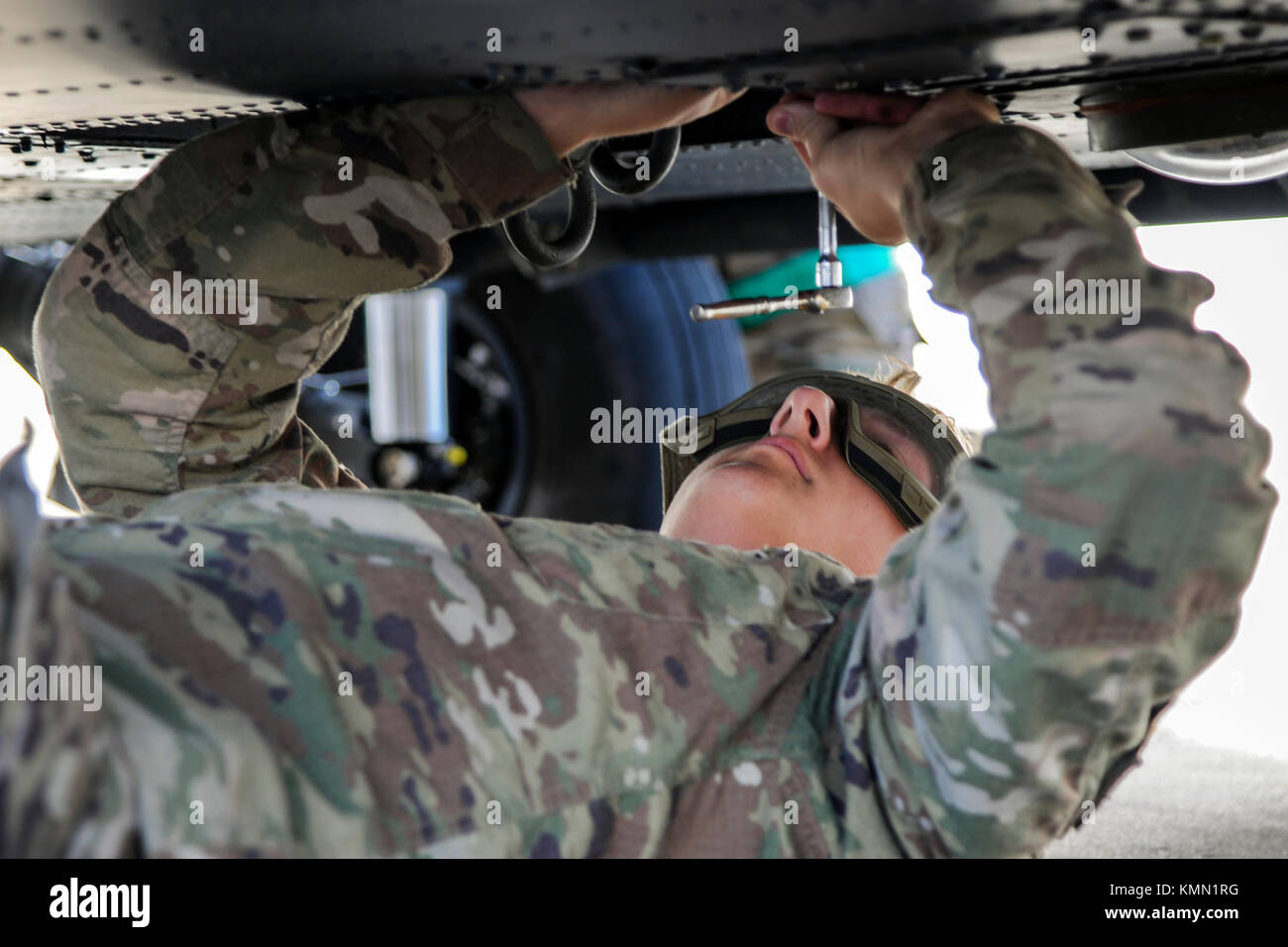 Senior Airman Greggory Petkewicz 723d Aircraft Maintenance Squadron Crew Chief Tightens A Screw On HH 60G Pave Hawk Dec 5 2017 At Moody Air Force