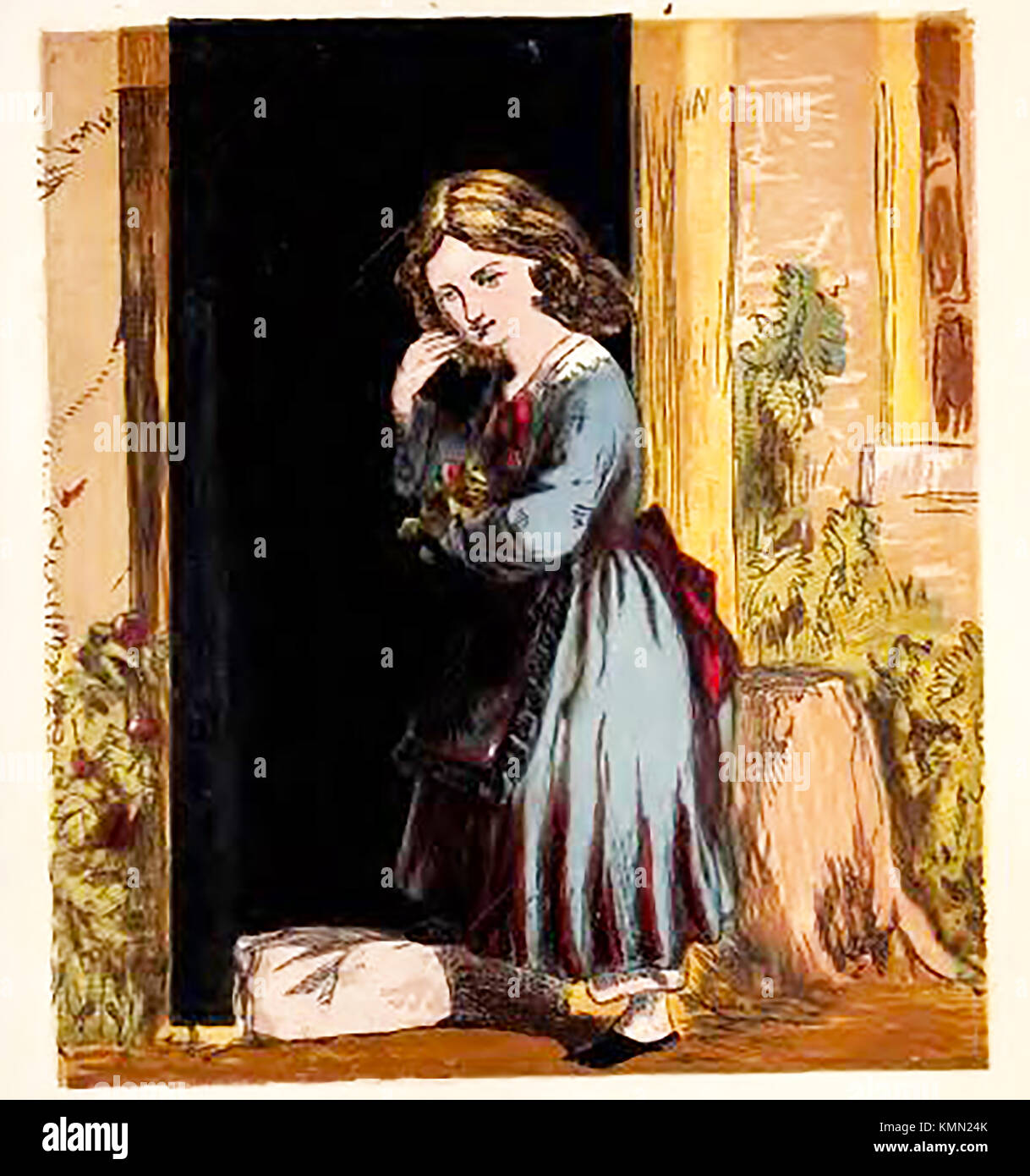 Victorian pastimes (from a coloured children's picture book. - Gardening - Girl picking red  roses - Stock Image