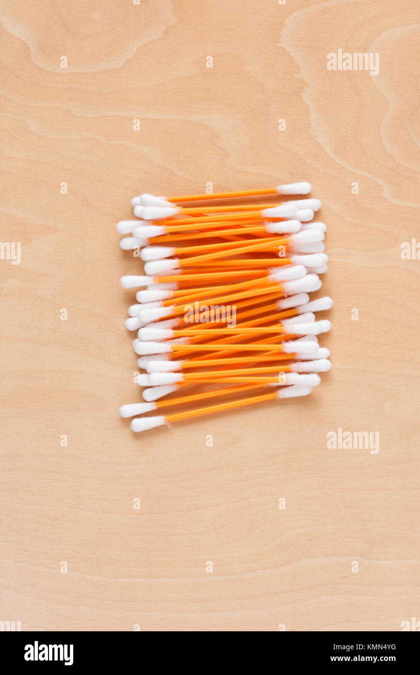 Ear sticks scattered on a table Stock Photo