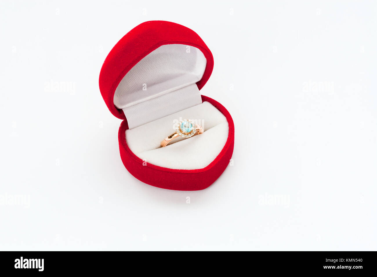 Gold ring with diamond in Red box - Stock Image