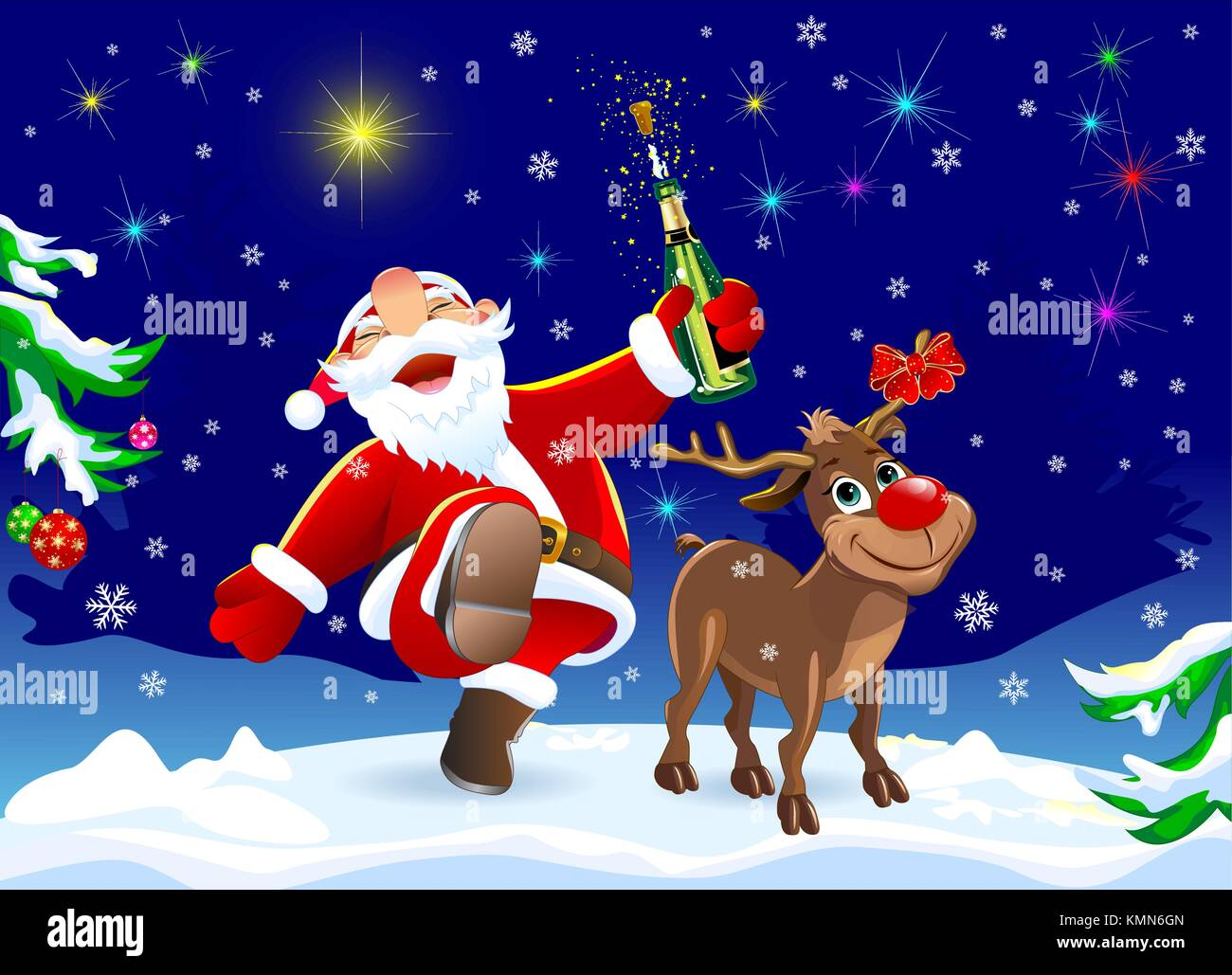 Merry Christmas Eve Images.On The Eve Of Christmas Santa Claus And Deer In The Winter