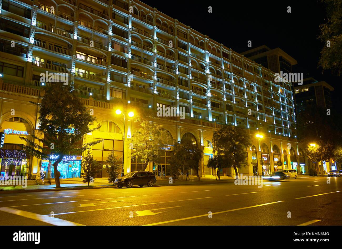 BAKU, AZERBAIJAN - OCTOBER 9, 2017: The scenic hotel edifice with arched balconies, on October 9 in Baku Stock Photo