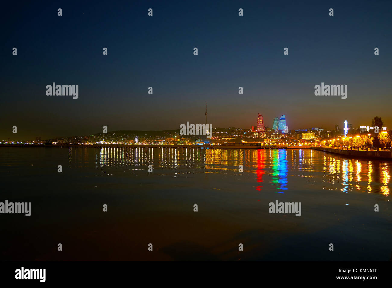 Embankment of Caspian Sea is the main landmark of the city, its the best place to overview beautiful illumination - Stock Image