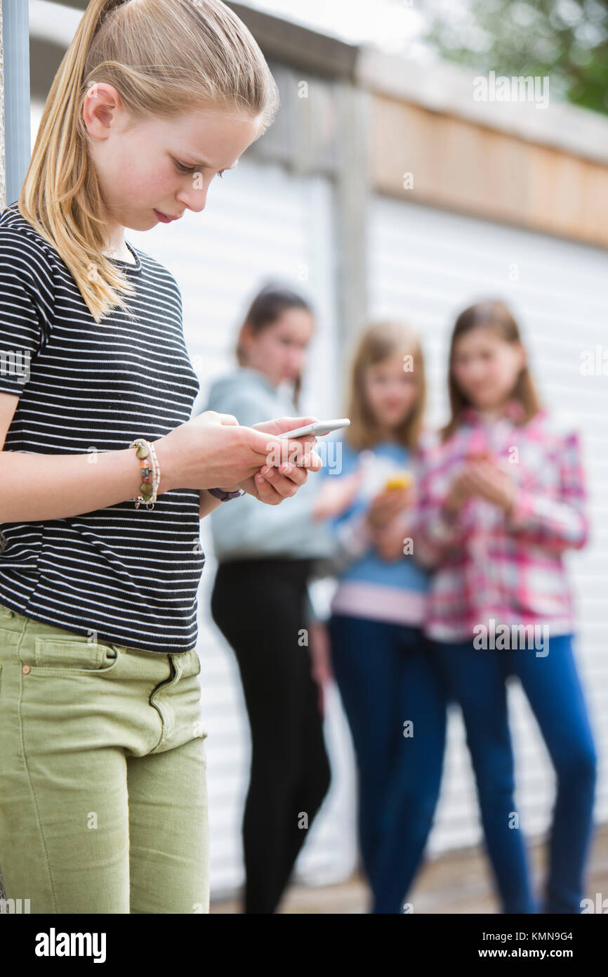 Pre Teen Girl Being Bullied By Text Message - Stock Image
