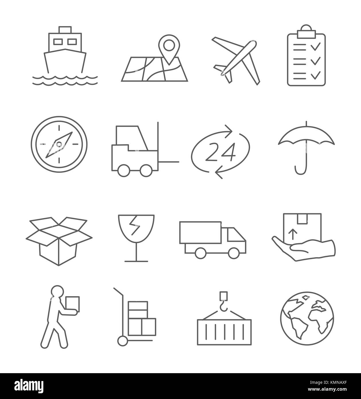Logistic and Delivery Line Icons - Stock Image