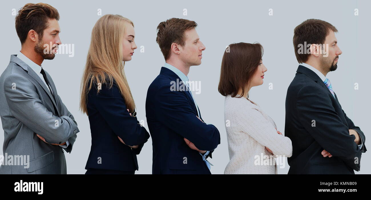 Profile of a business team in a single line - Stock Image