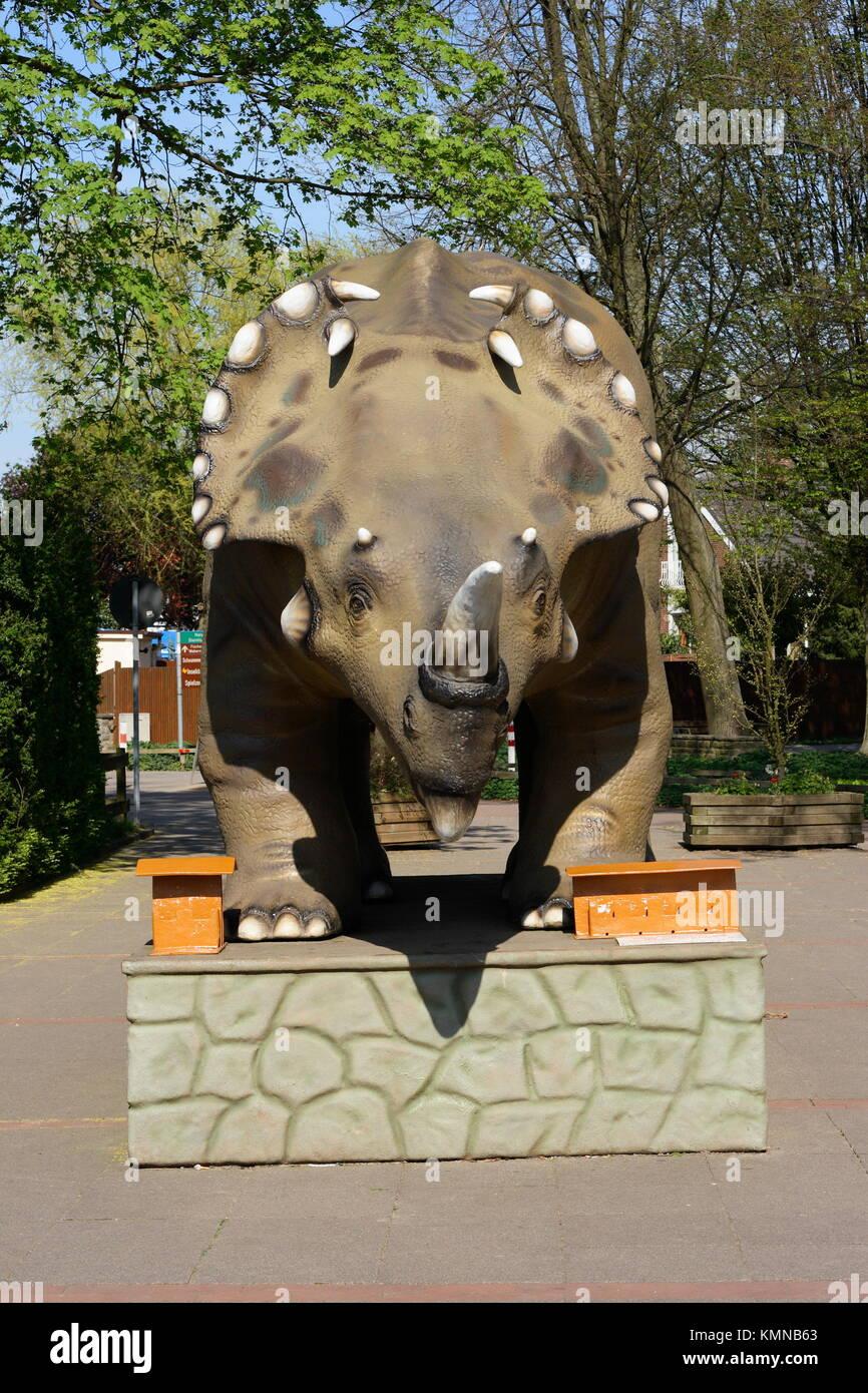 Model of a dinosaur,Kurpark Park, Steinhude, Lower Saxony, Germany, Europe - Stock Image