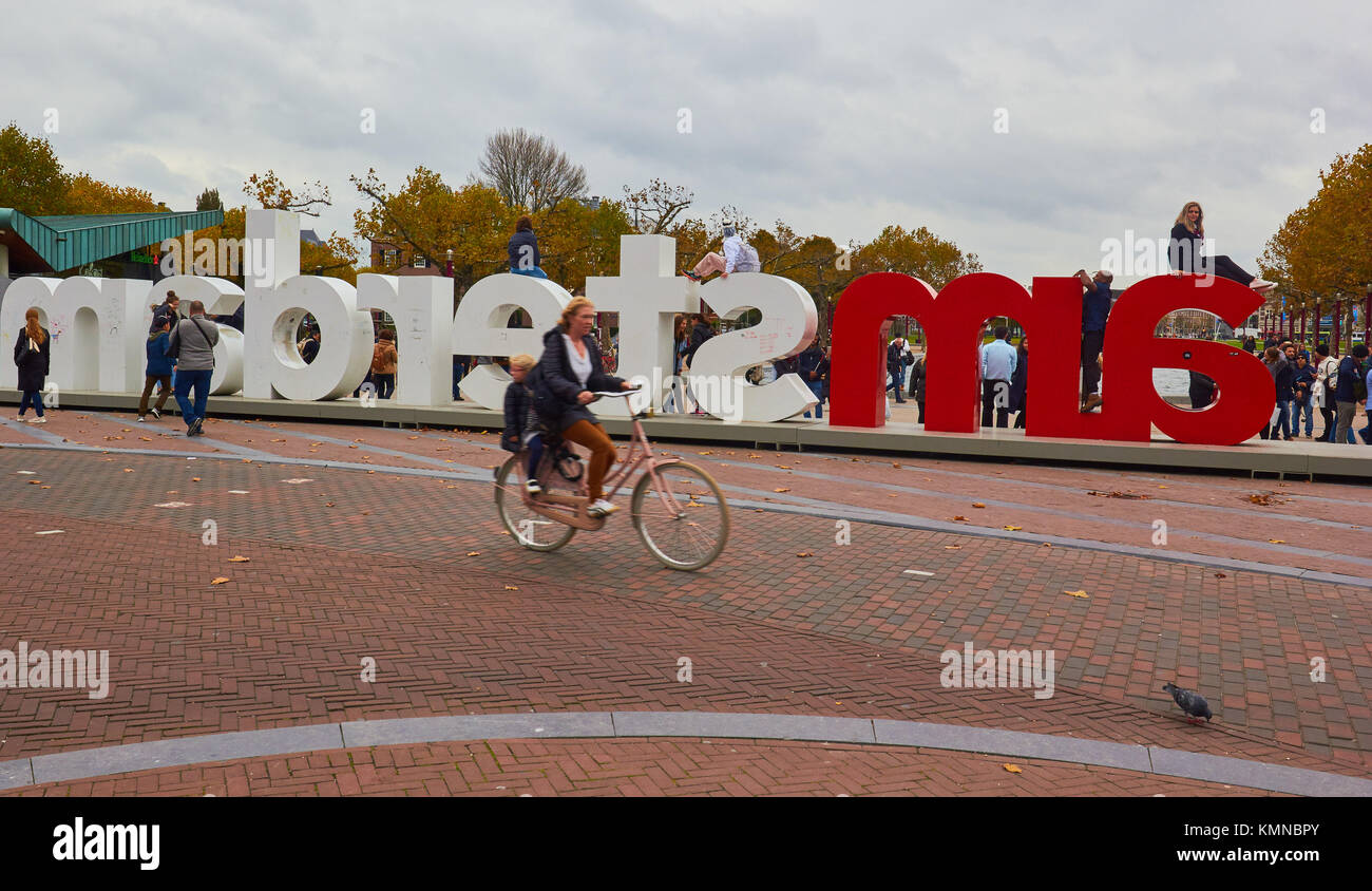 I Amsterdam giant letters marketing slogan, Museumplein (Museum Square), Amsterdam, Holland - Stock Image